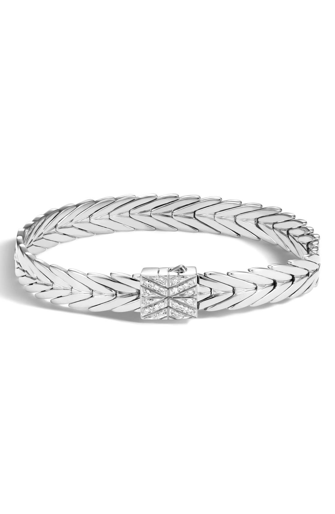 Modern Chain 8mm Bracelet,                             Main thumbnail 1, color,                             Silver/Diamond