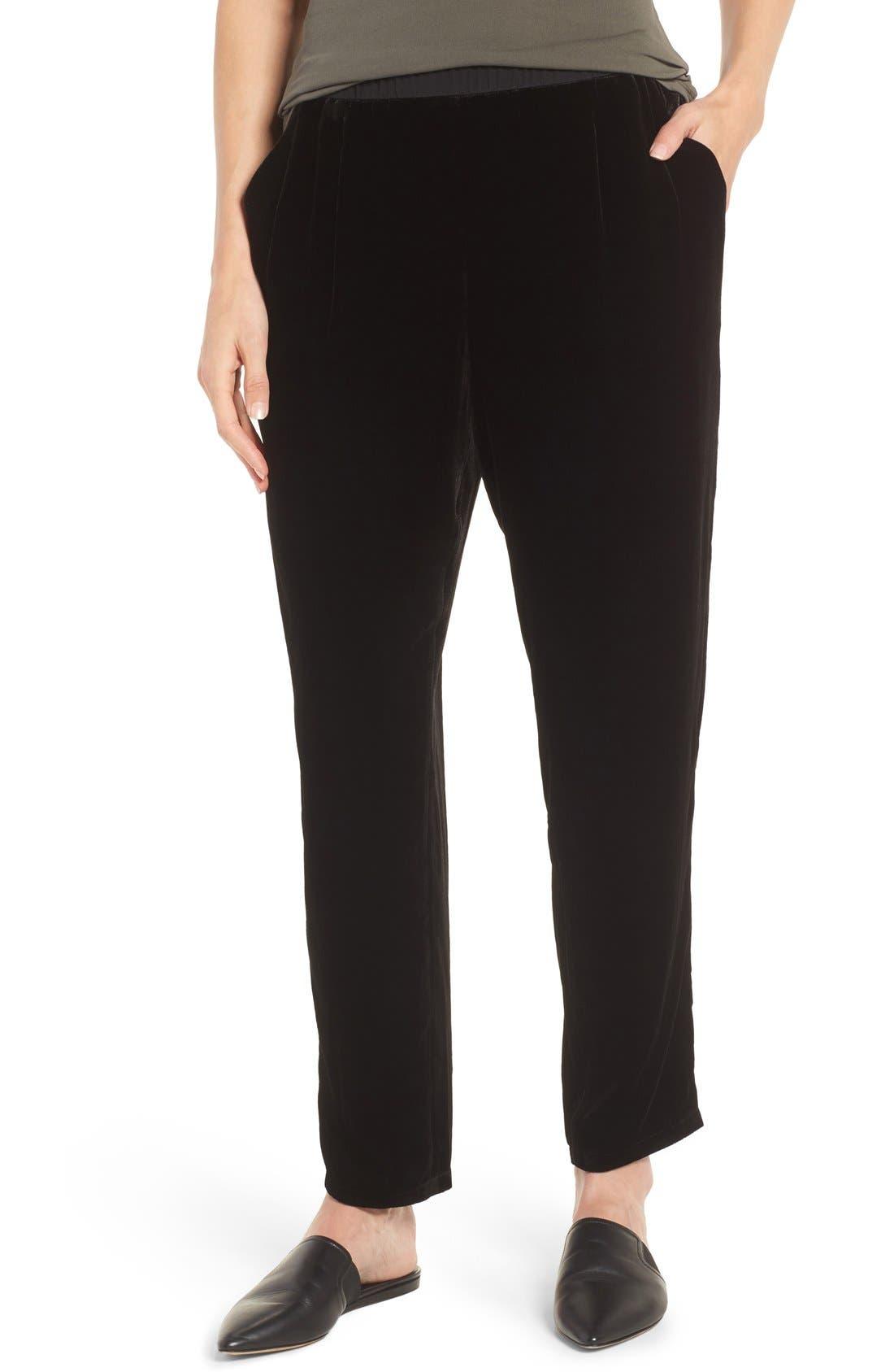 Velvet Ankle Pants,                             Main thumbnail 1, color,                             Black