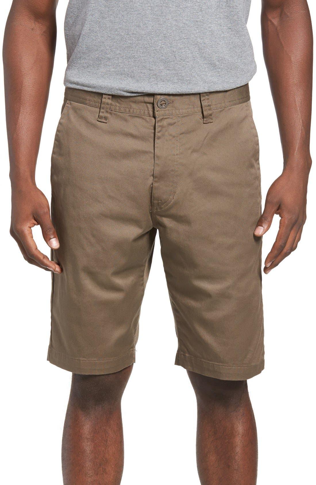'Modern' Stretch Chino Shorts,                             Main thumbnail 1, color,                             Mushroom