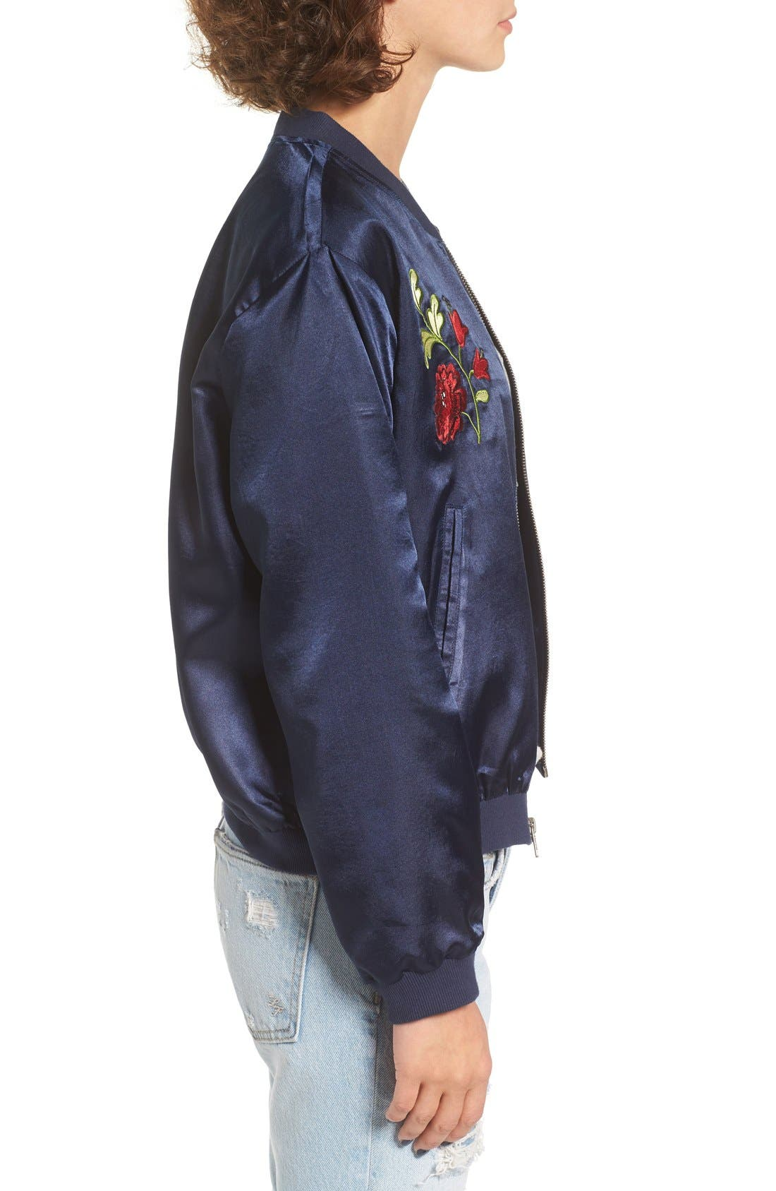 Alternate Image 3  - Tularosa Mara Embroidered Satin Bomber Jacket