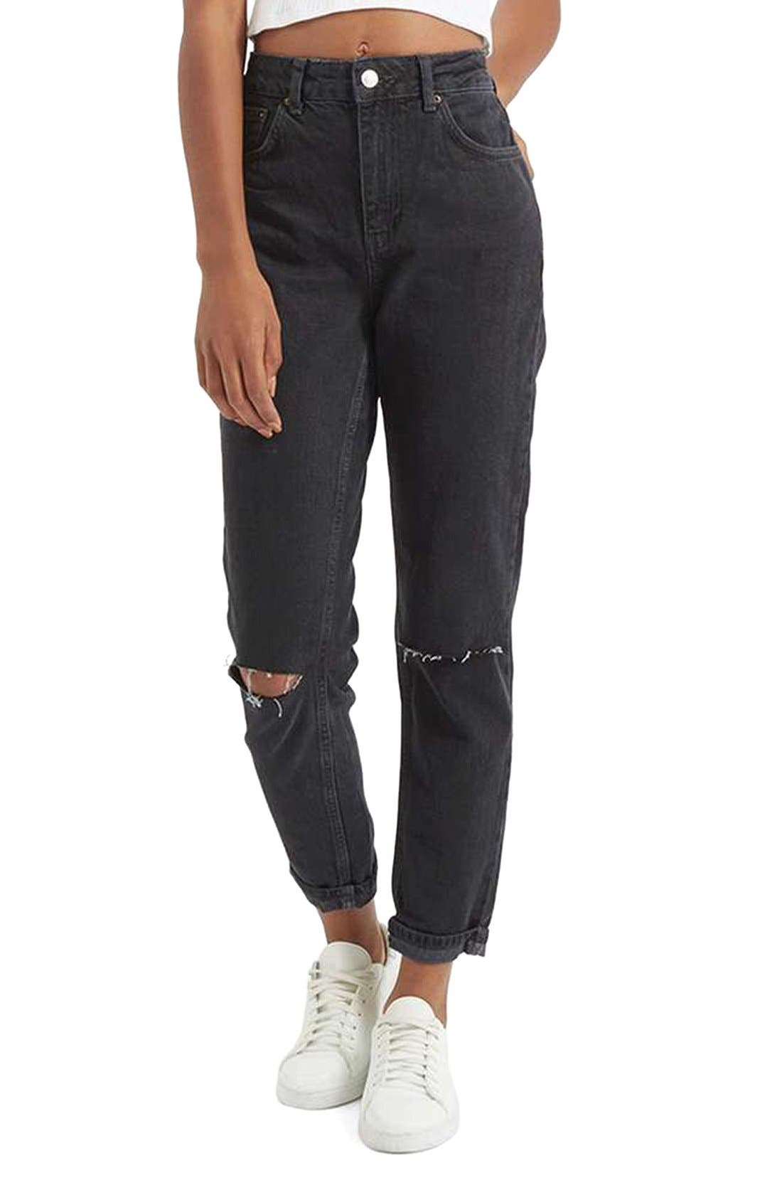 Main Image - Topshop Moto Mom Washed Ripped Jeans
