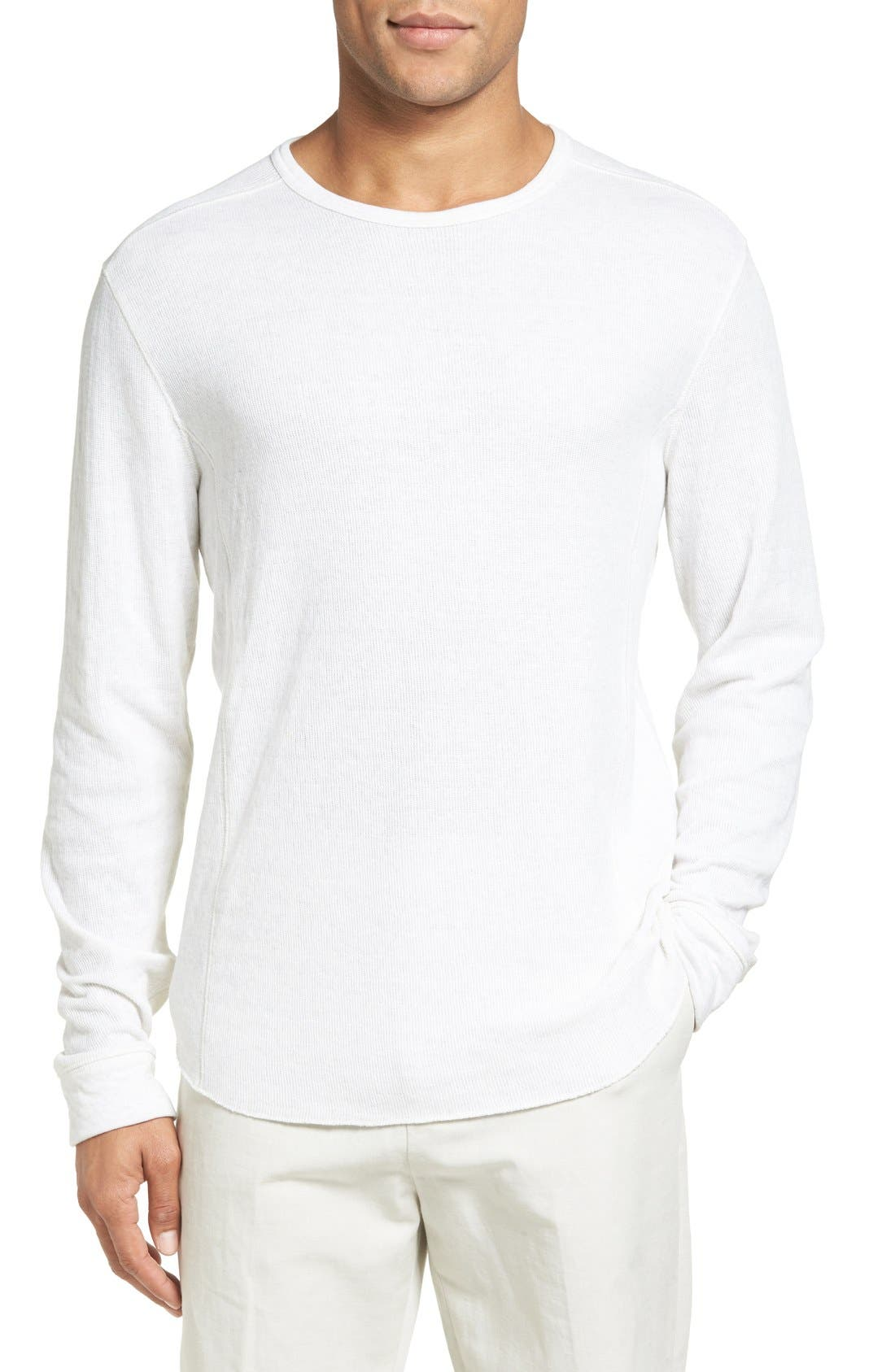 Trim Fit Crewneck Pullover,                             Main thumbnail 1, color,                             Heather Optic White