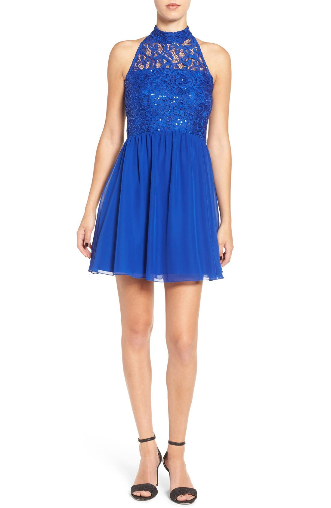 Speechless Lace Halter Party Dress