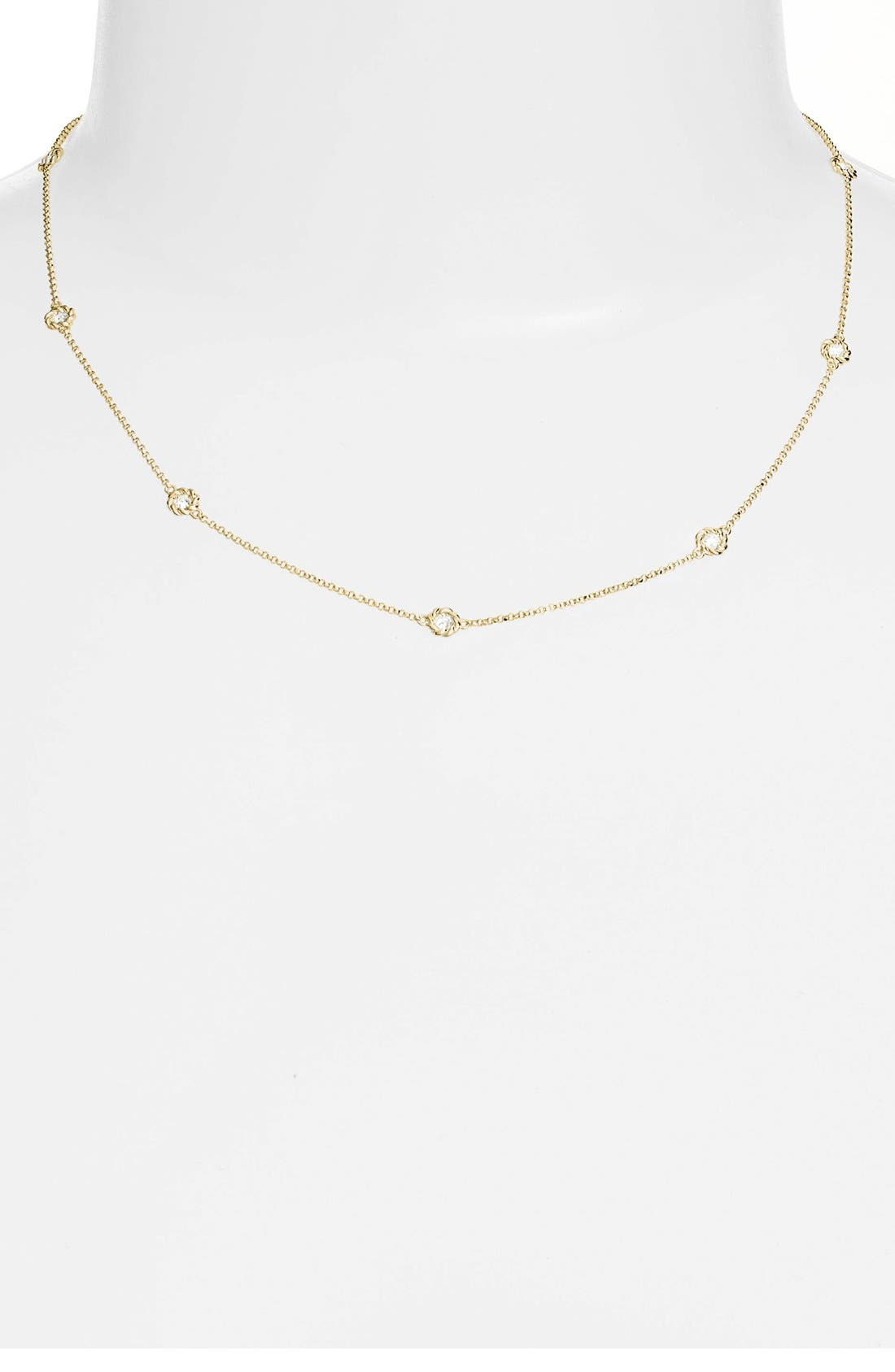 Diamond Station Necklace,                             Main thumbnail 1, color,                             Yellow Gold