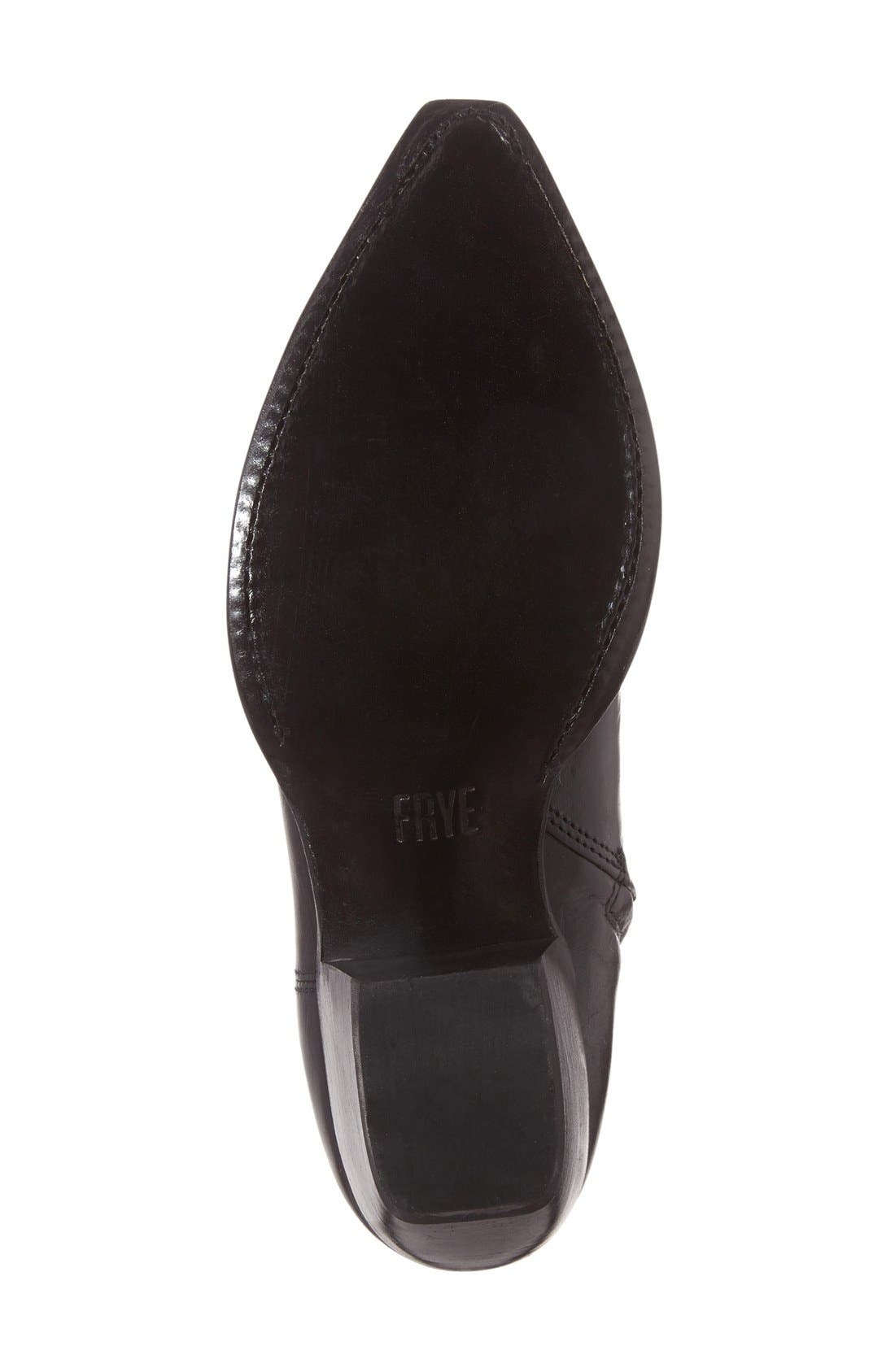 'Shane' Western Bootie,                             Alternate thumbnail 4, color,                             Black Leather