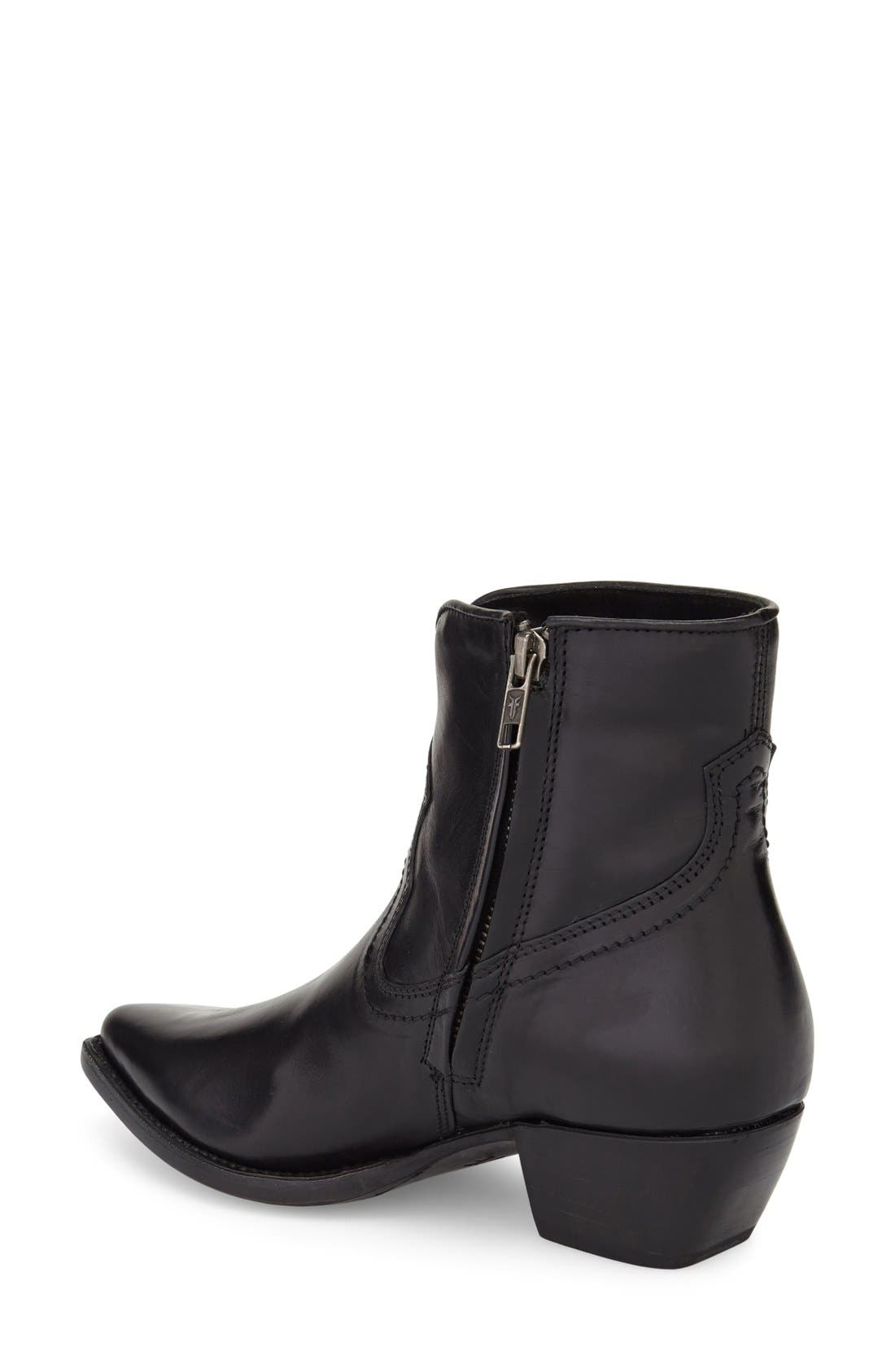 'Shane' Western Bootie,                             Alternate thumbnail 2, color,                             Black Leather