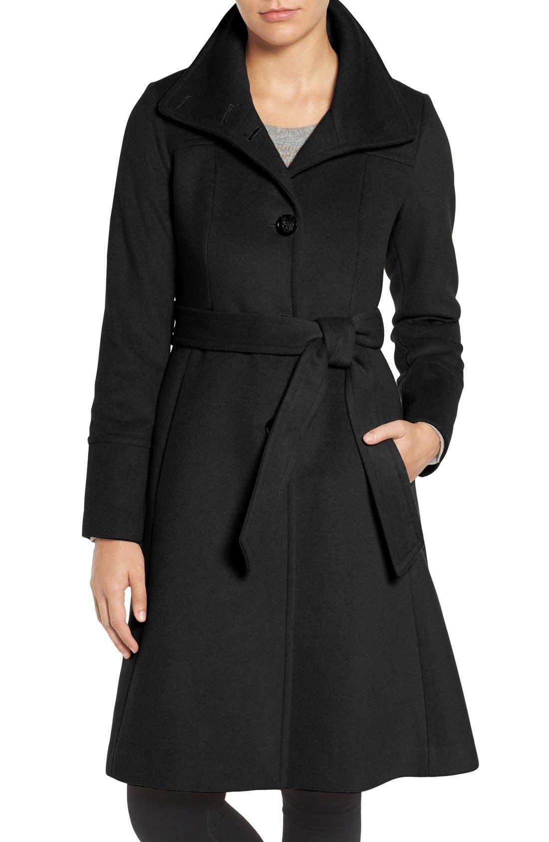 Main Image - Eliza J Luxe Wool Blend Belted Long A-Line Coat