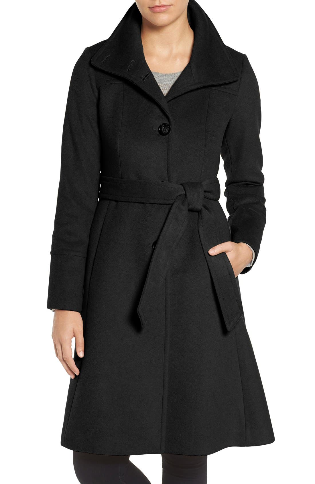 Luxe Wool Blend Belted Long A-Line Coat,                         Main,                         color, Black