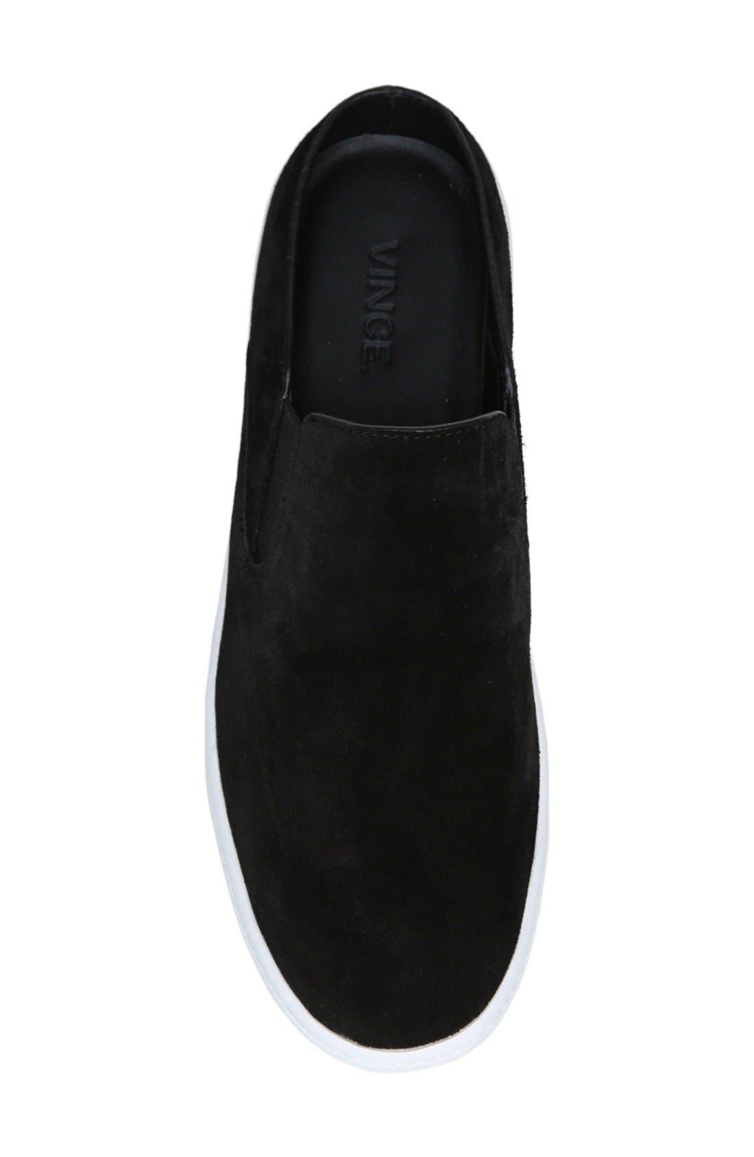 Verrell Slip-On Sneaker,                             Alternate thumbnail 4, color,                             Black Suede
