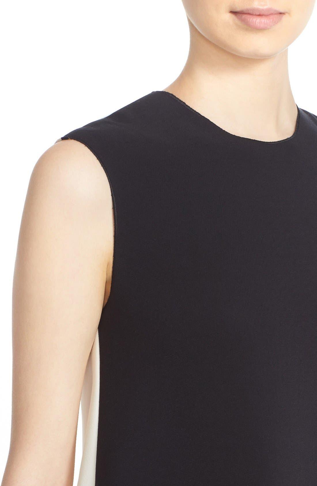 Fuji Colorblock Ruffle Hem Trapeze Dress,                             Alternate thumbnail 6, color,                             Black/ White