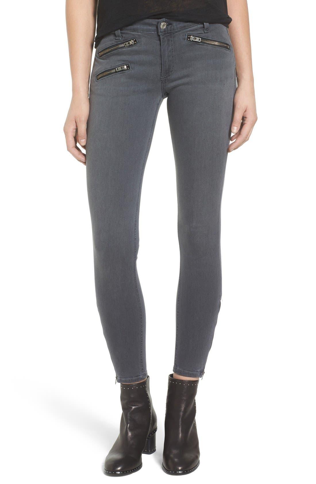 Alternate Image 1 Selected - rag & bone/JEAN RBW23 Zip Detail Skinny Jeans (Seattle)