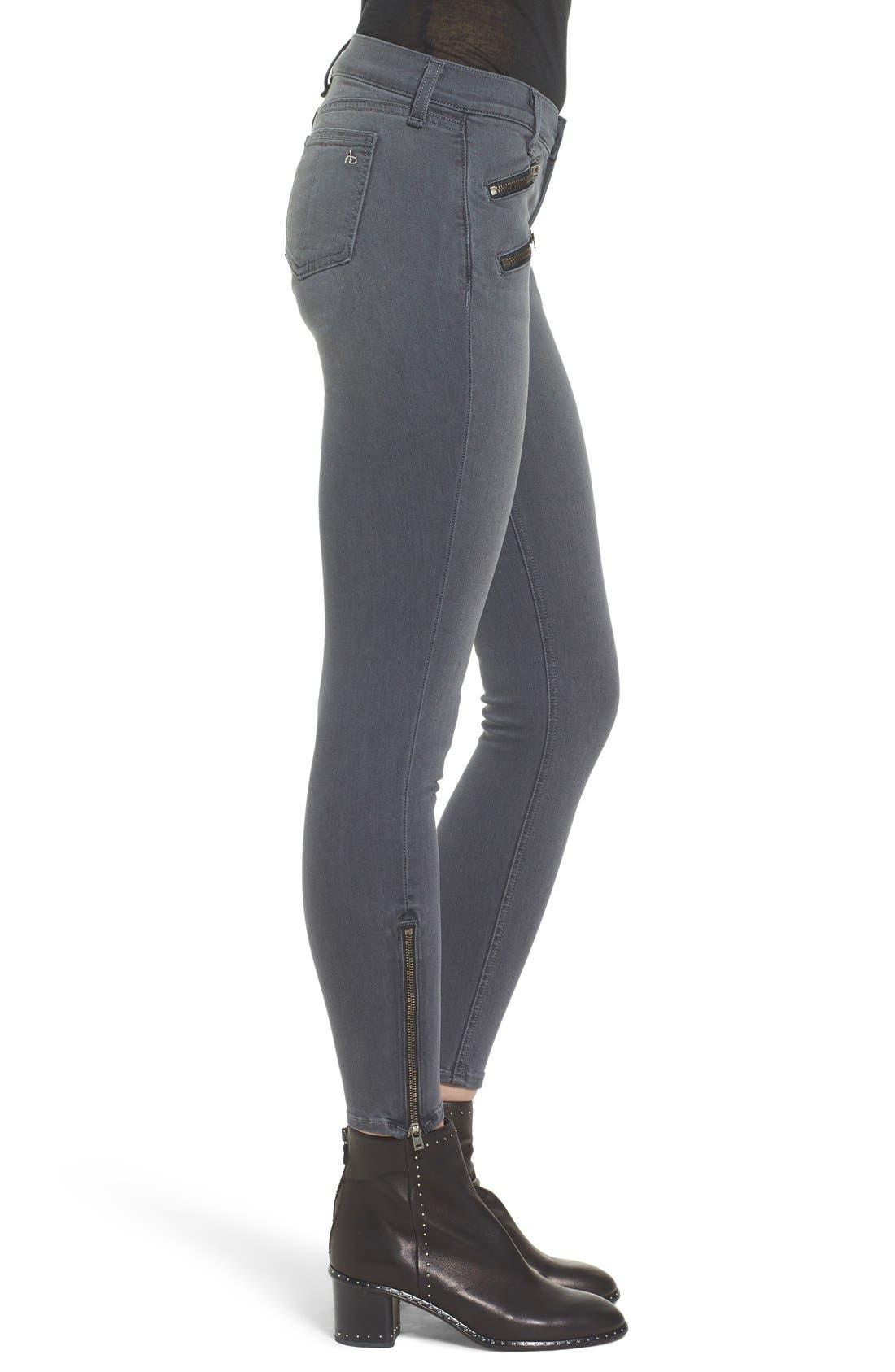 Alternate Image 3  - rag & bone/JEAN RBW23 Zip Detail Skinny Jeans (Seattle)
