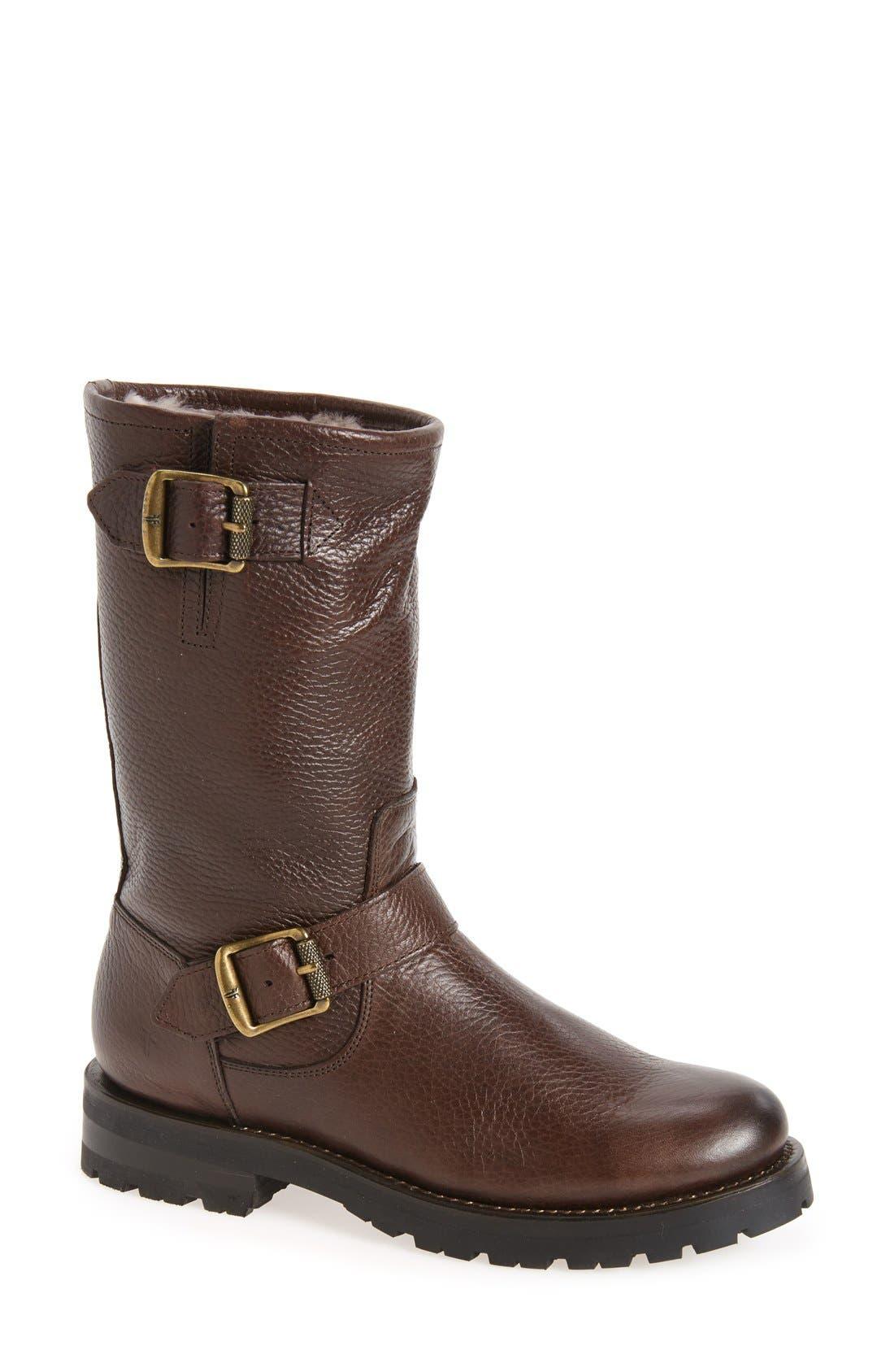 Frye Natalie Buckle Strap Engineer Genuine Shearling Lined Boot (Women)