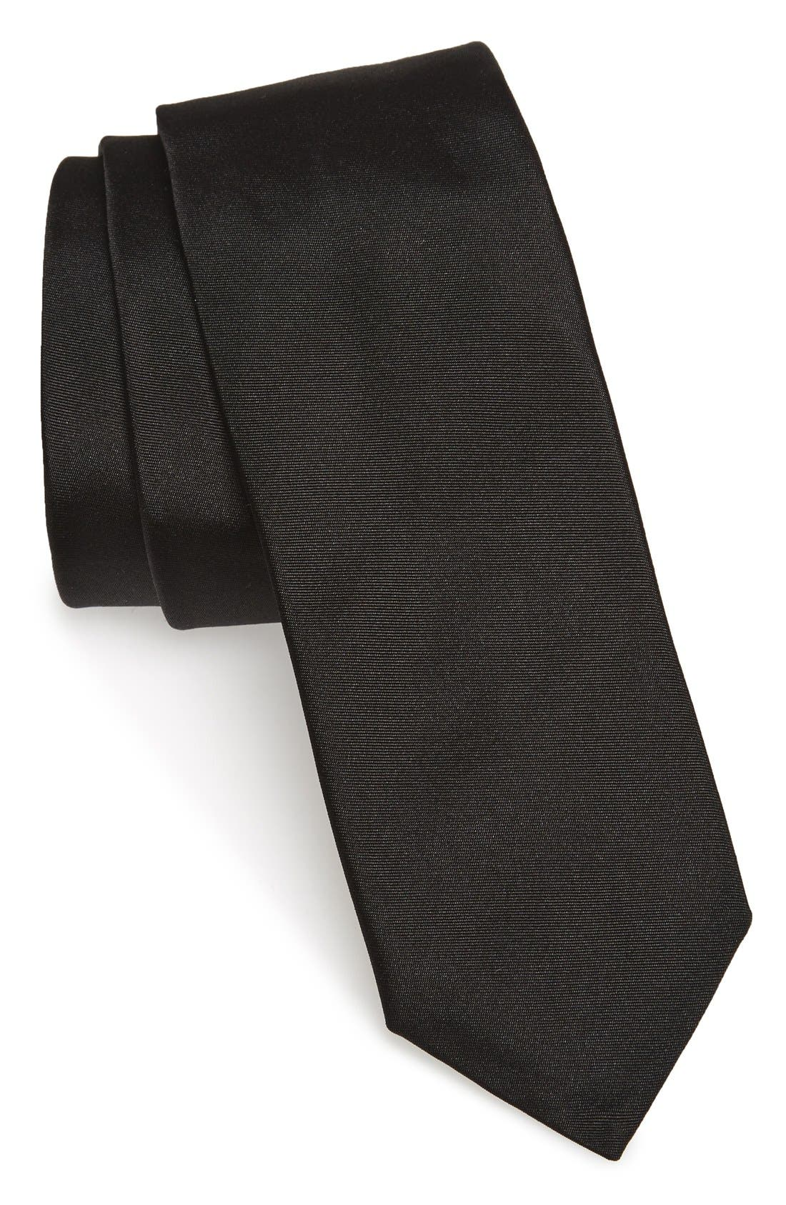 Solid Silk Skinny Tie,                             Main thumbnail 1, color,                             Black
