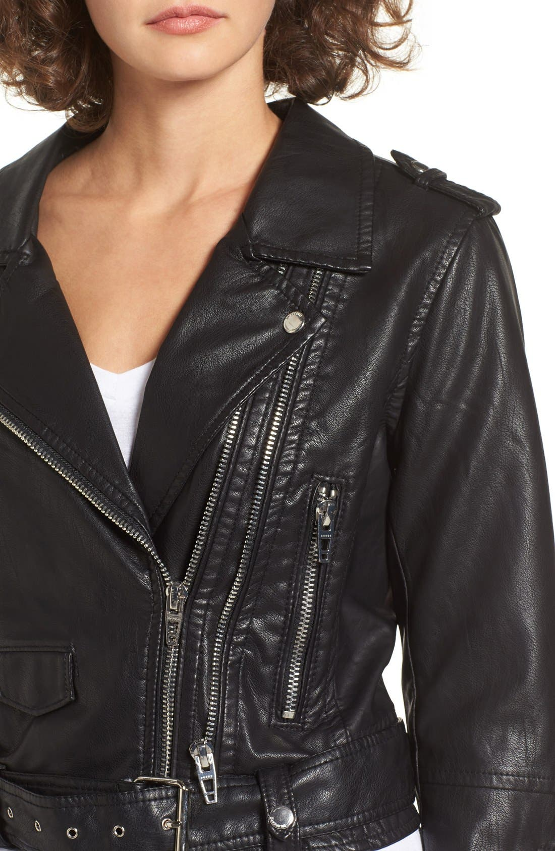 Faux Leather Crop Moto Jacket,                             Alternate thumbnail 4, color,                             Squad Goals