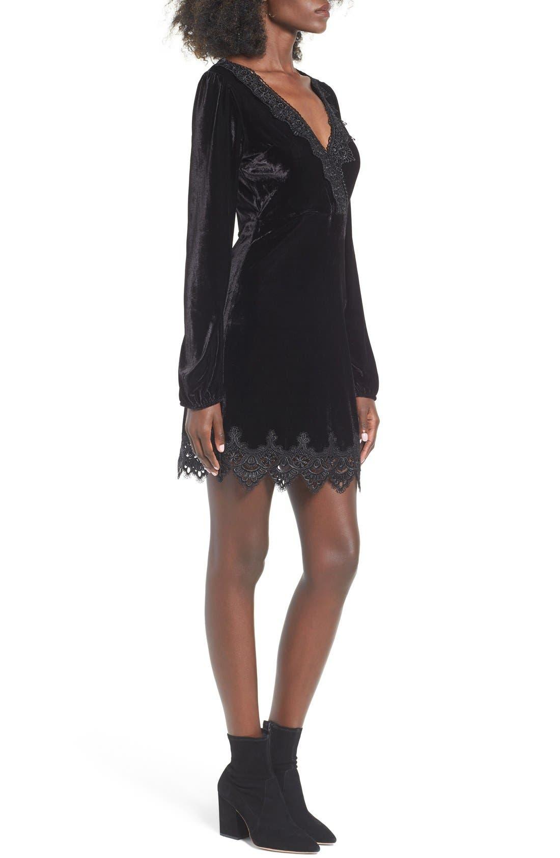 Alternate Image 3  - 4SI3NNA Velvet Trim Minidress