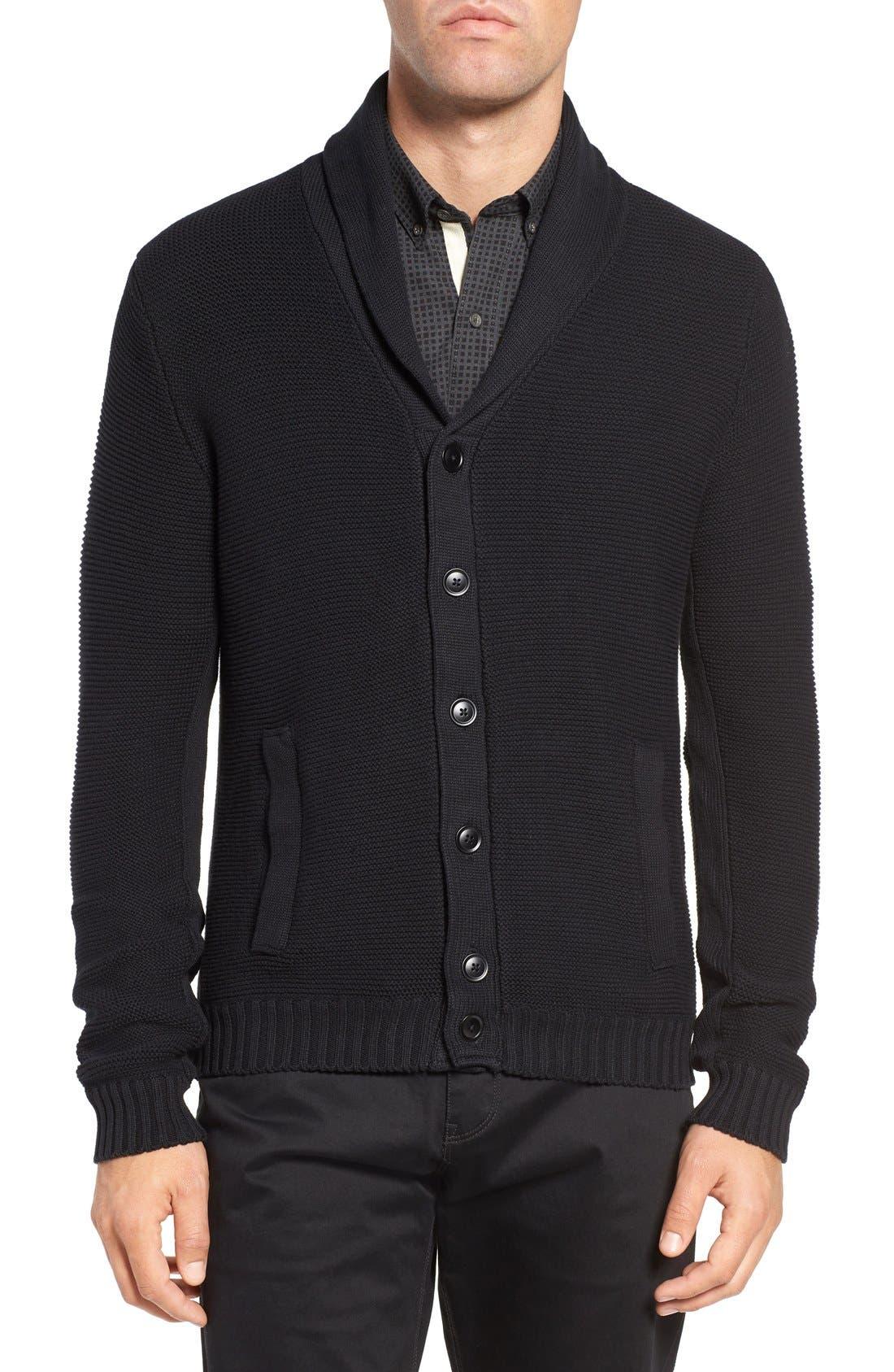 Cypress Cotton Shawl Collar Cardigan,                             Main thumbnail 1, color,                             Black