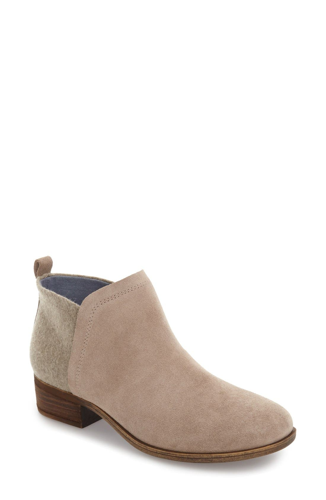 Deia Zip Bootie,                         Main,                         color, Natural Suede