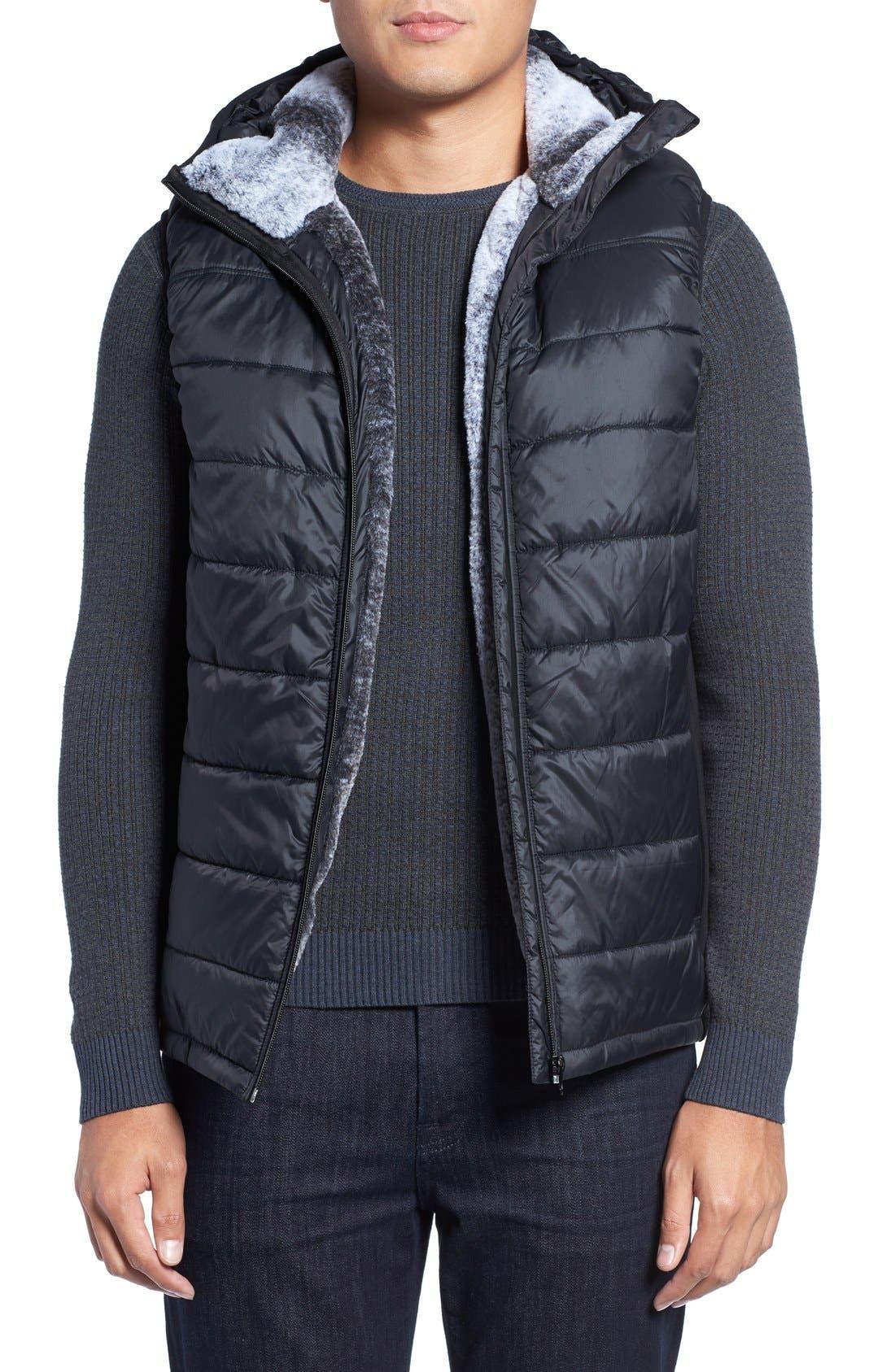 Hooded Faux Fur Lined Vest,                         Main,                         color, Black
