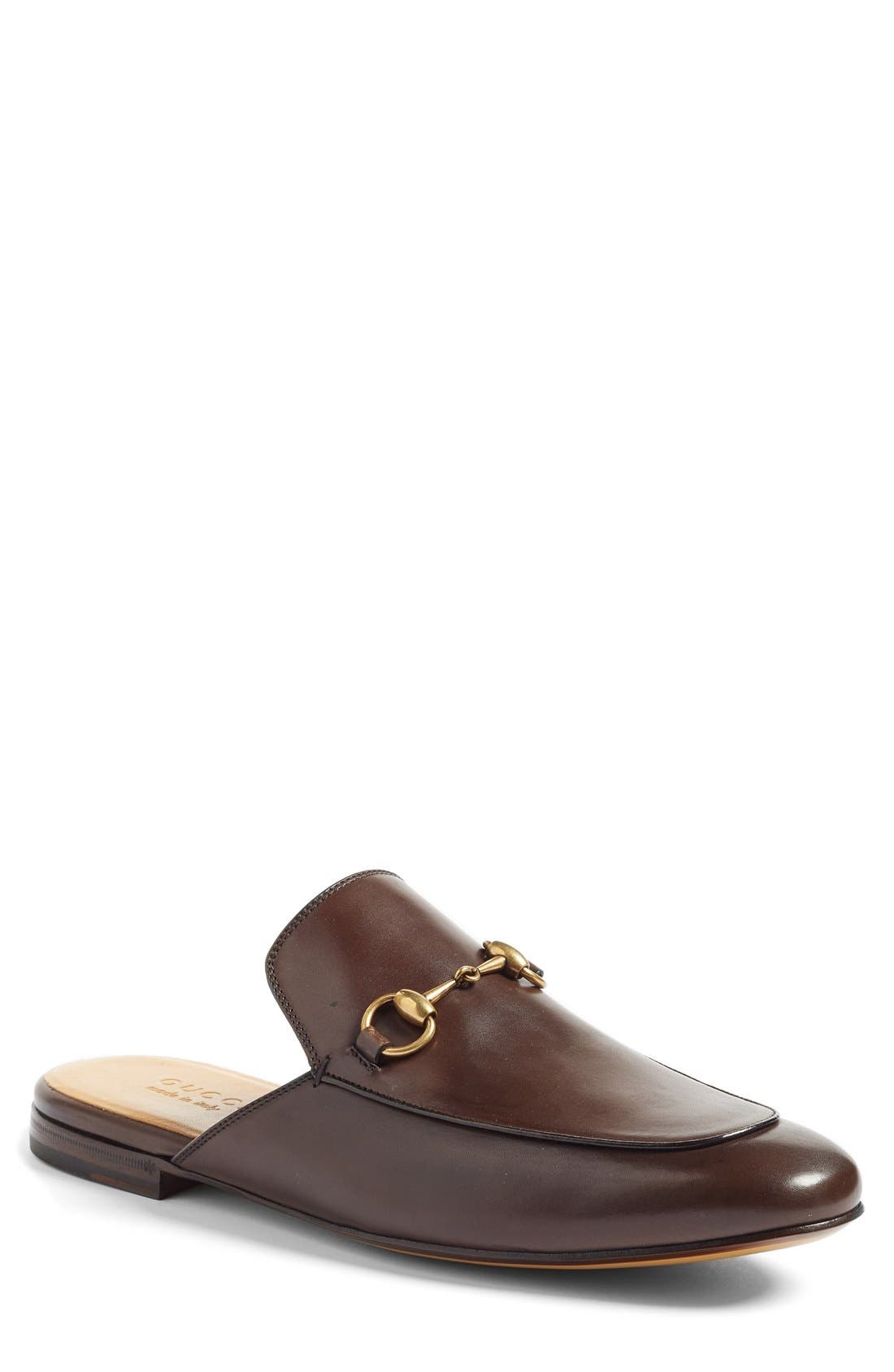 Straw Princetown Slipper,                             Main thumbnail 1, color,                             Brown Leather
