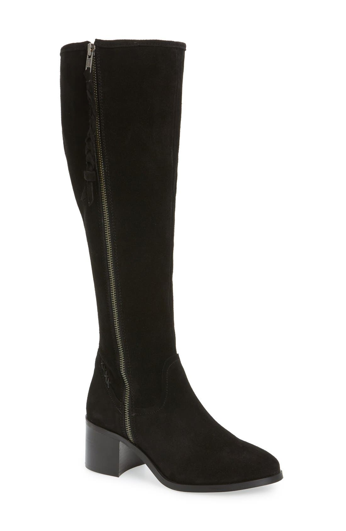 Lasso Boot,                         Main,                         color, Black Suede