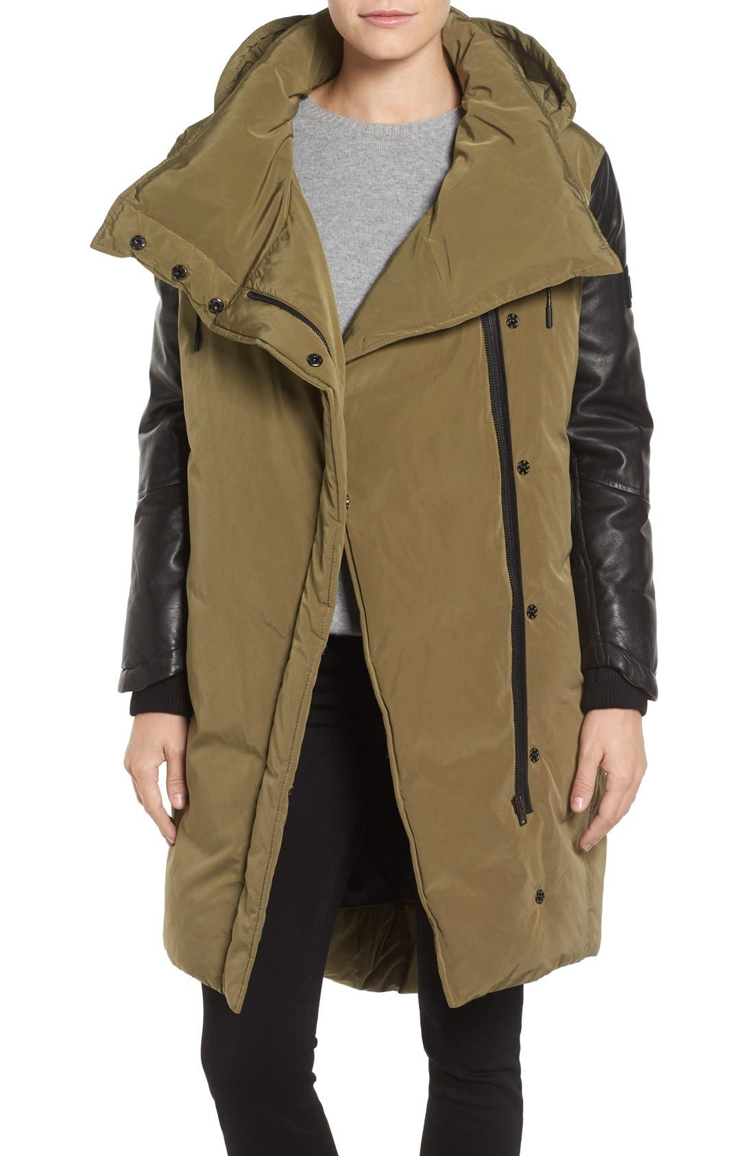 LAMARQUE Oversize Down Coat with Leather Trim