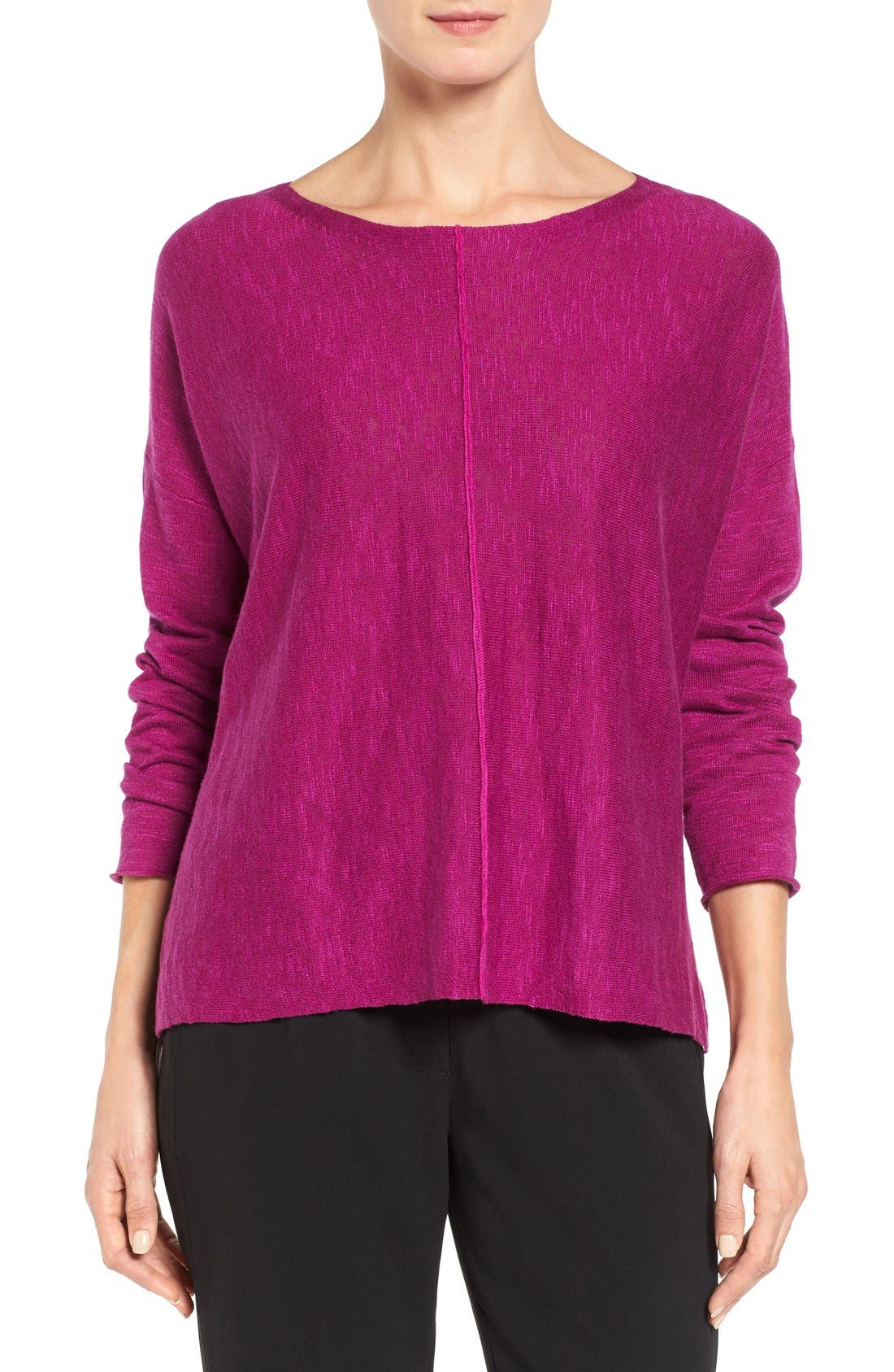 Alternate Image 1 Selected - Eileen Fisher Organic Linen & Cotton Top (Regular & Petite)