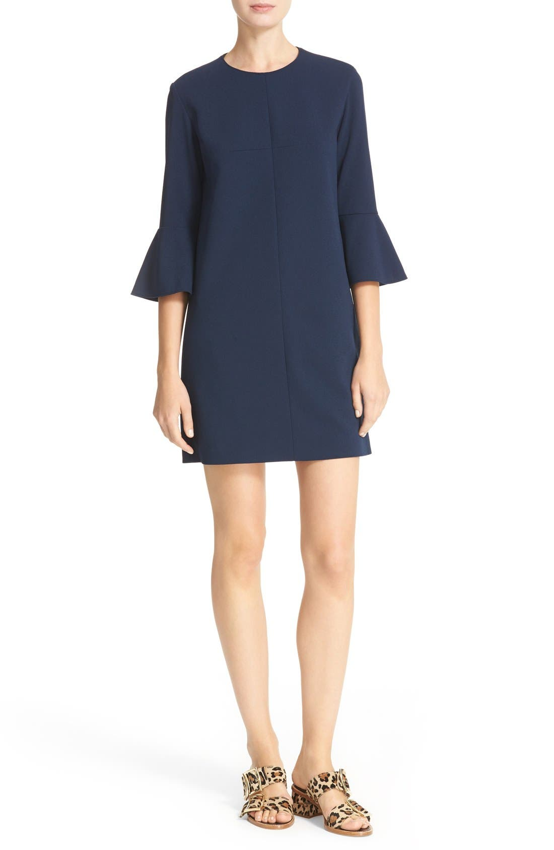 Bell Sleeve Dress,                         Main,                         color, Navy