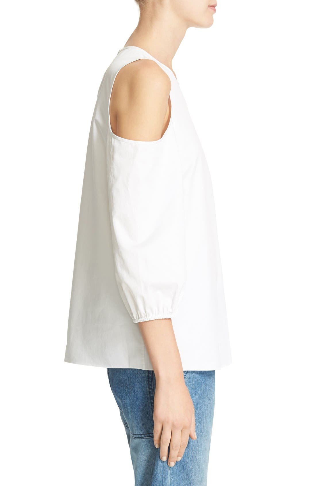 Alternate Image 3  - Tibi Satin Poplin Cold Shoulder Top