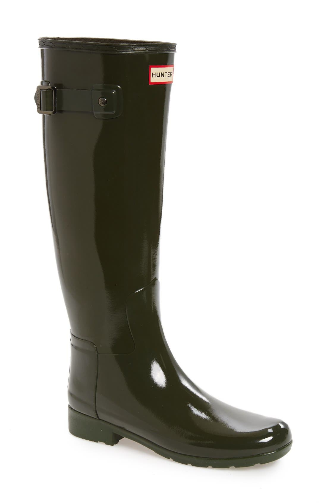 'Original Refined' High Gloss Rain Boot,                             Main thumbnail 1, color,                             Dark Olive