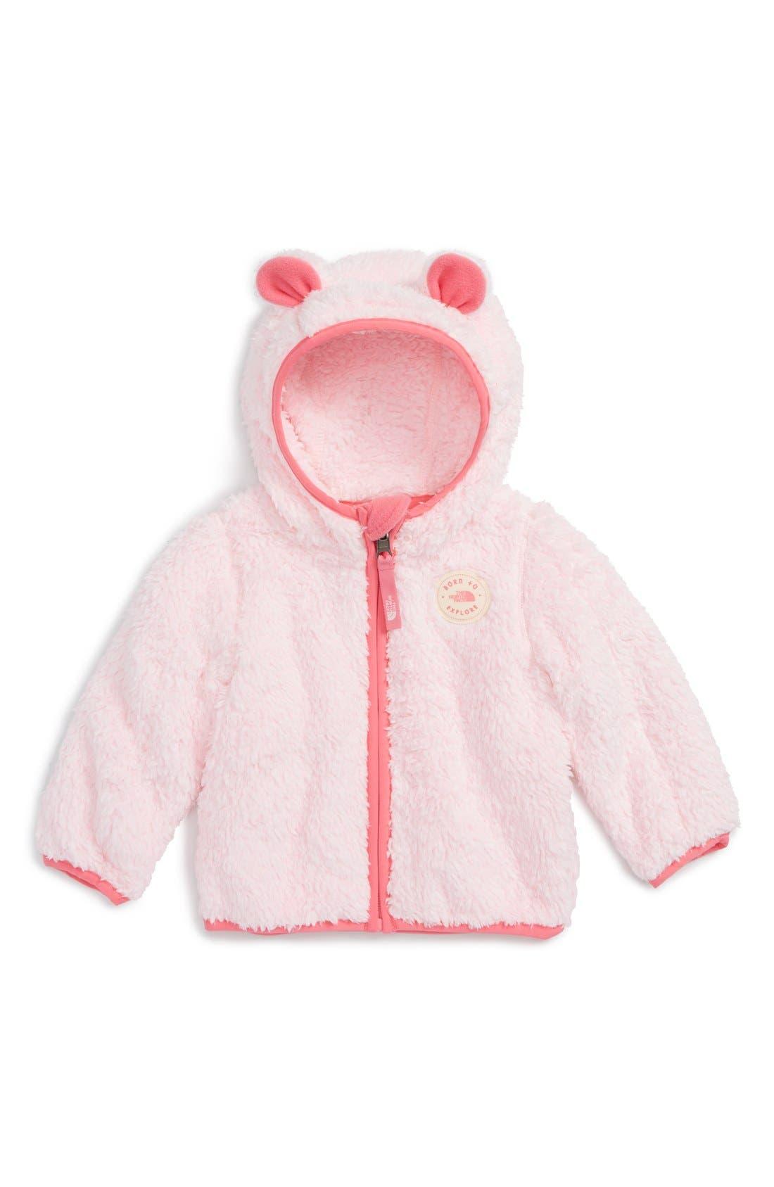 Plushee Bear Zip Hoodie,                             Main thumbnail 1, color,                             Coy Pink