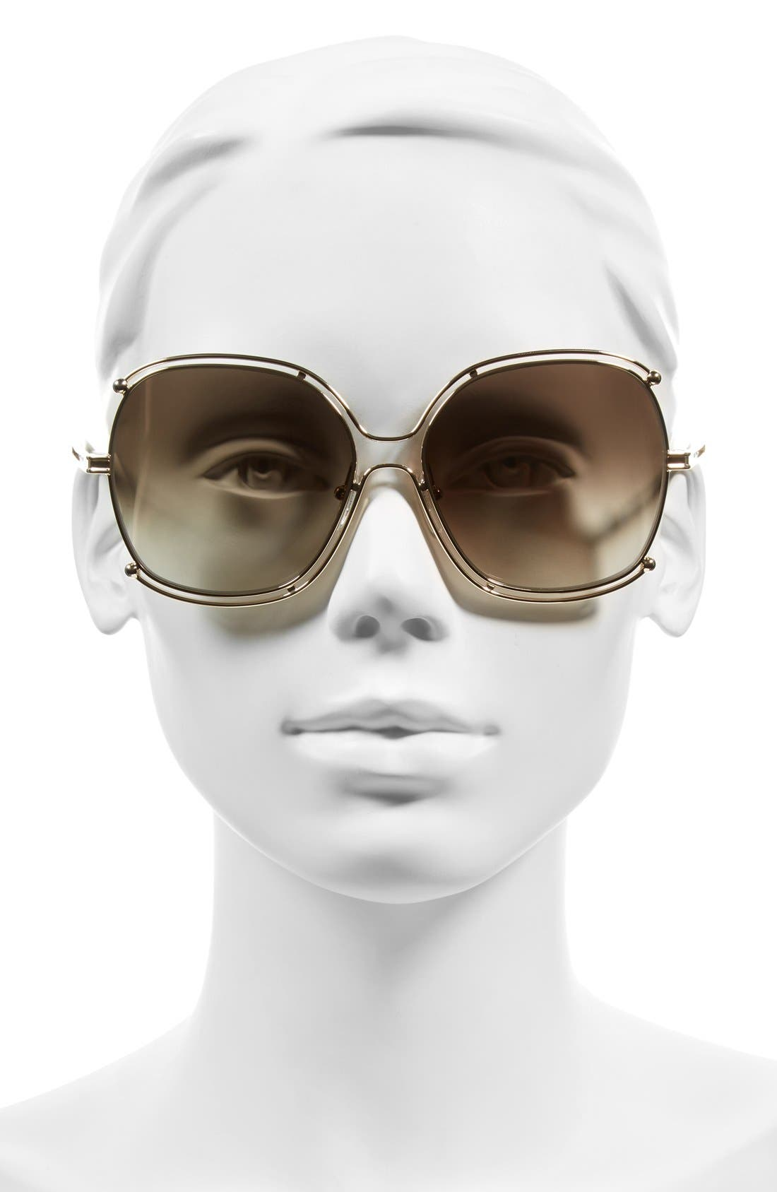Isidora 59mm Square Sunglasses,                             Alternate thumbnail 2, color,                             Gold/ Khaki