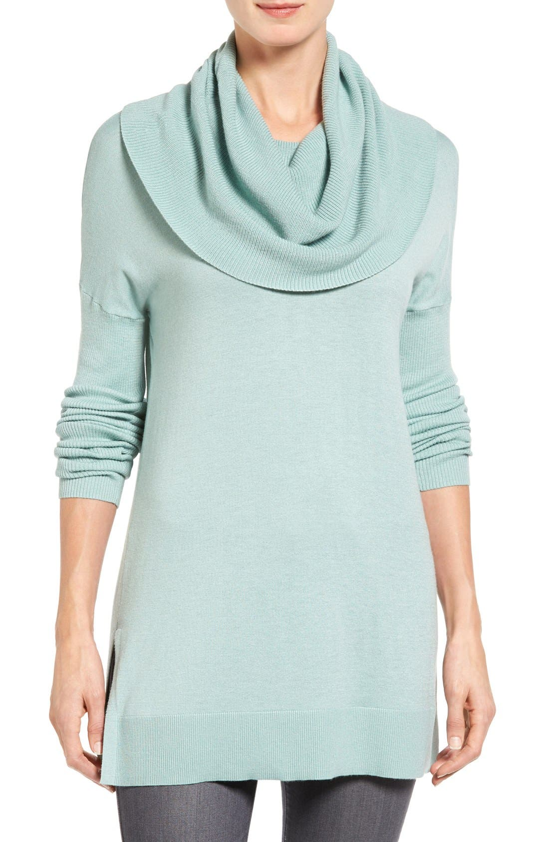 Caslon® Side Slit Cowl Neck Tunic (Regular & Petite)