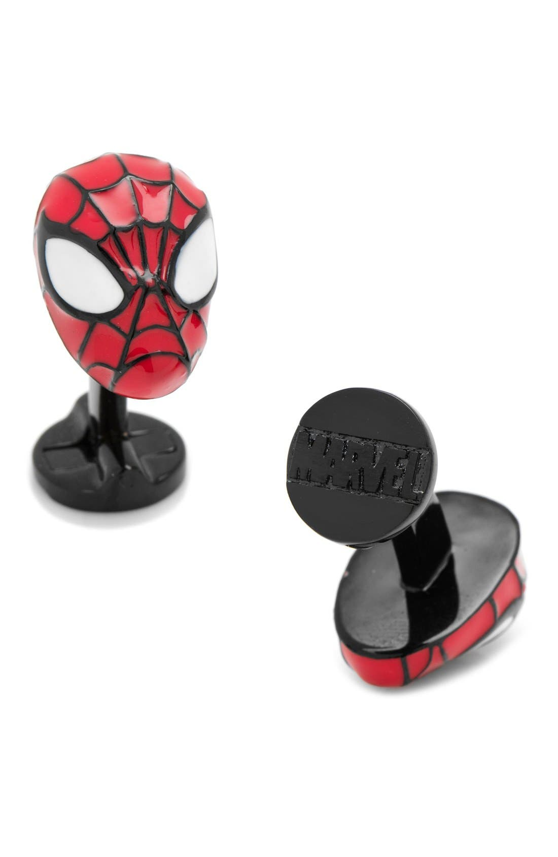 Marvel Spider-Man Cuff Links,                         Main,                         color, Red