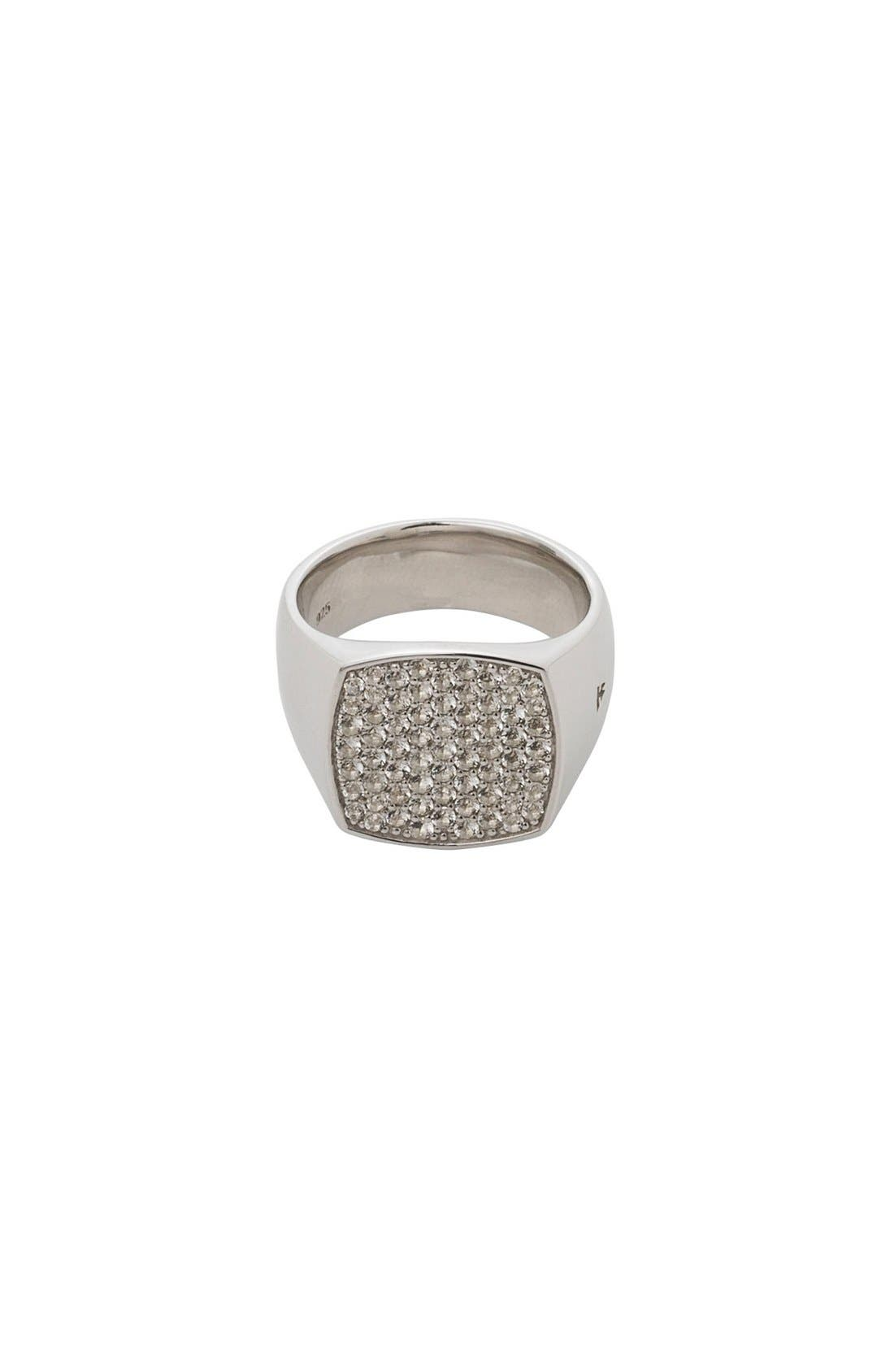 Tom Wood White Topaz Cushion Pinkie Ring