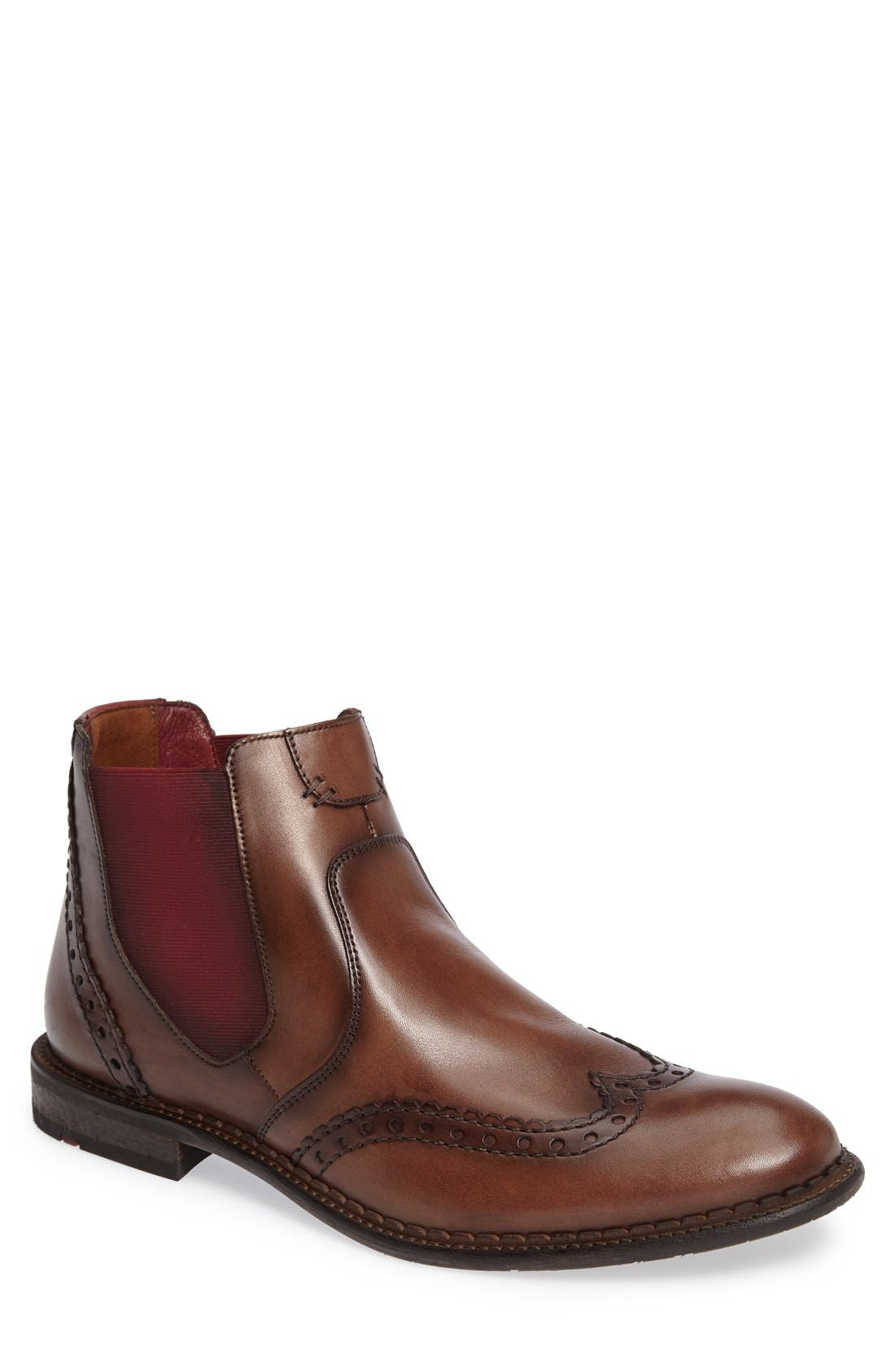 Grenoble Wingtip Chelsea Boot,                         Main,                         color, Tobacco/ Bordo