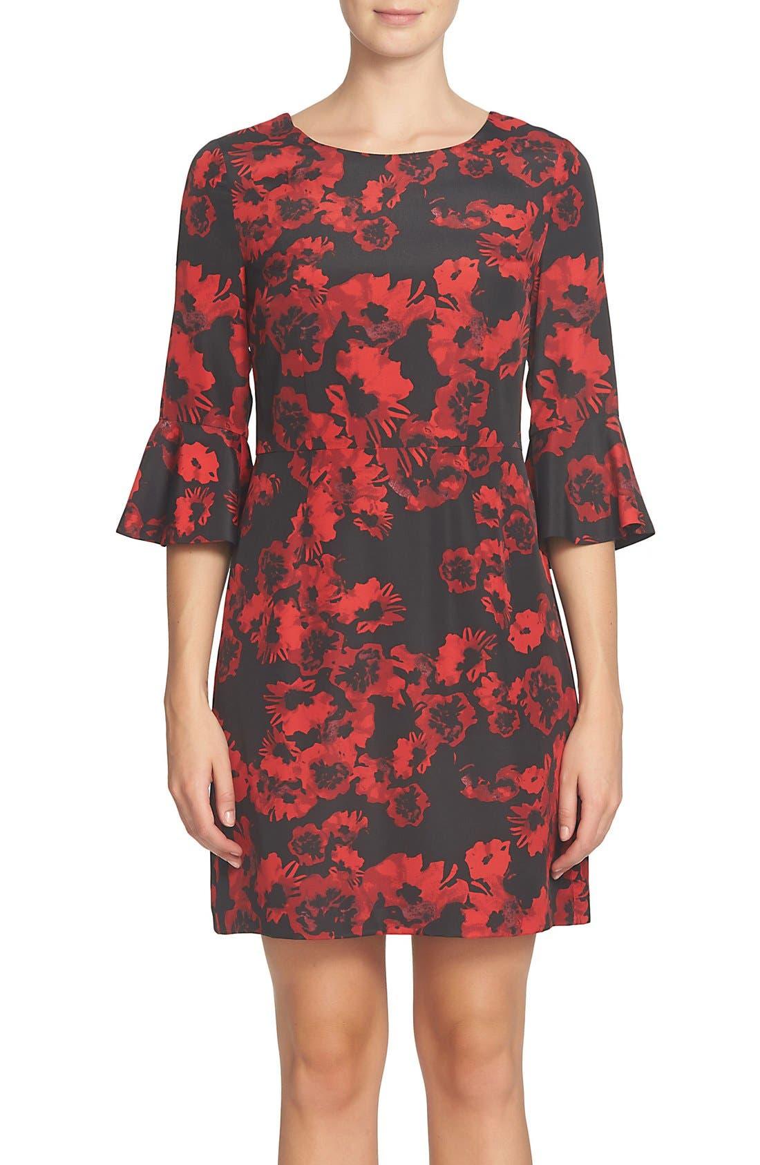 Ava Print Sheath Dress,                             Main thumbnail 1, color,                             Rich Black
