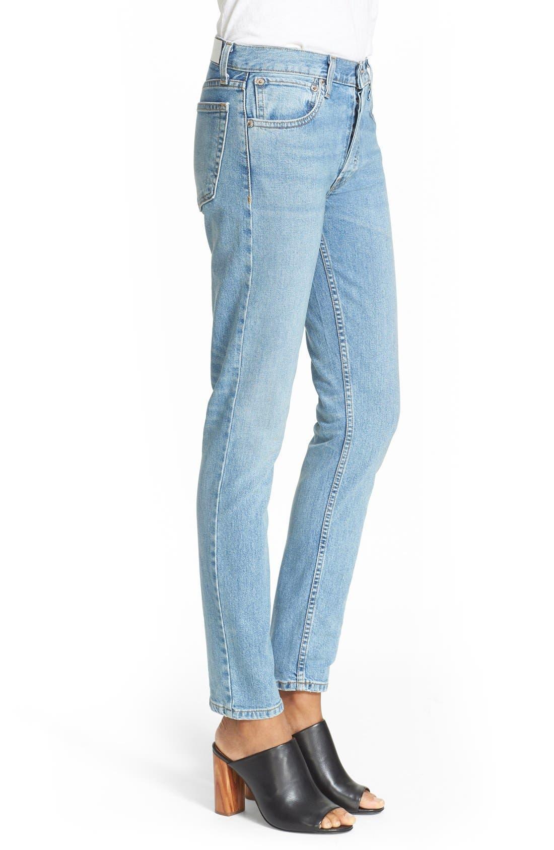 Originals High Waist Straight Skinny Stretch Jeans,                             Alternate thumbnail 3, color,                             Light