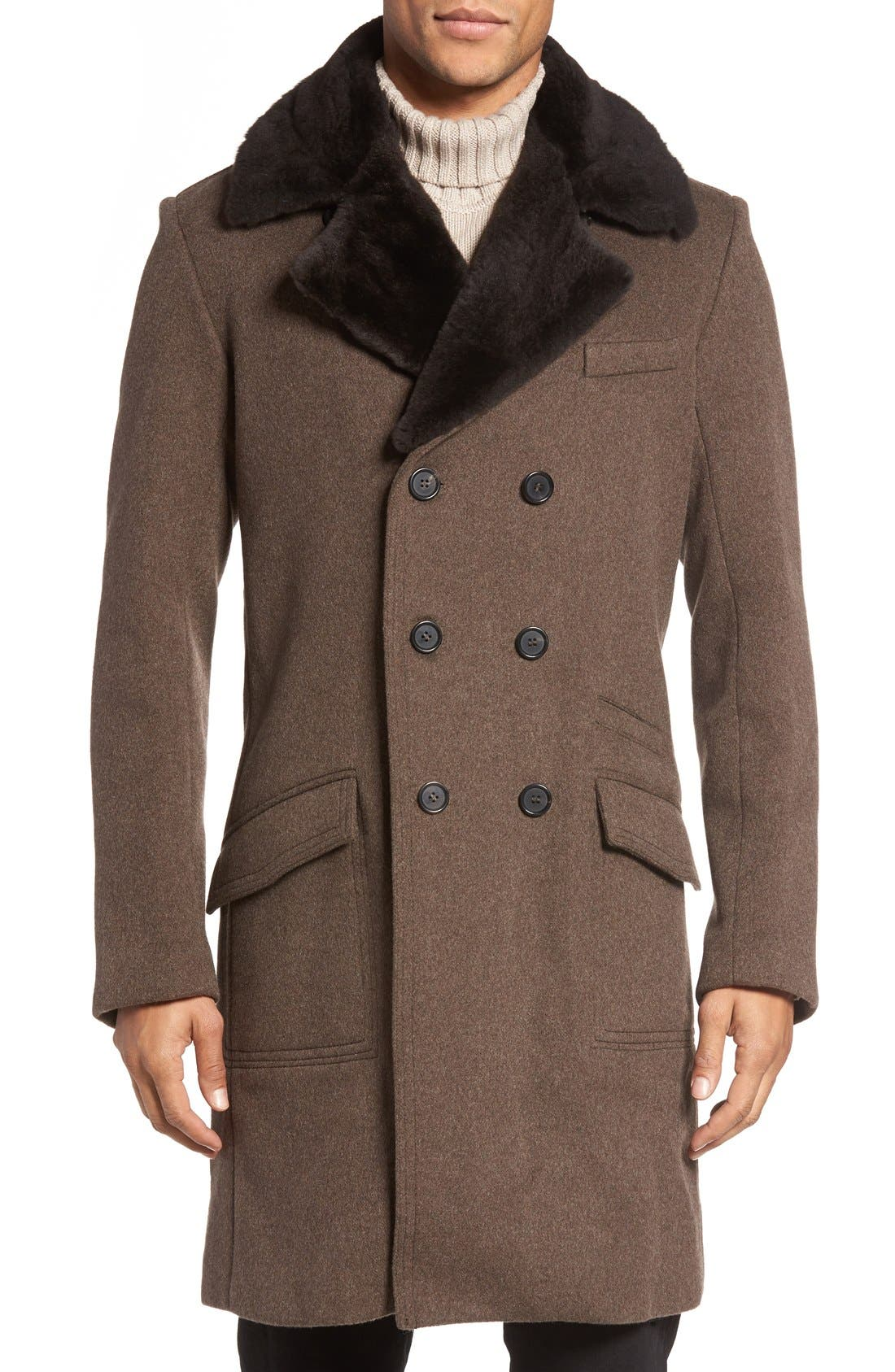 Billy Reid Bowery Cashmere Long Coat with Genuine Nutria Fur Collar