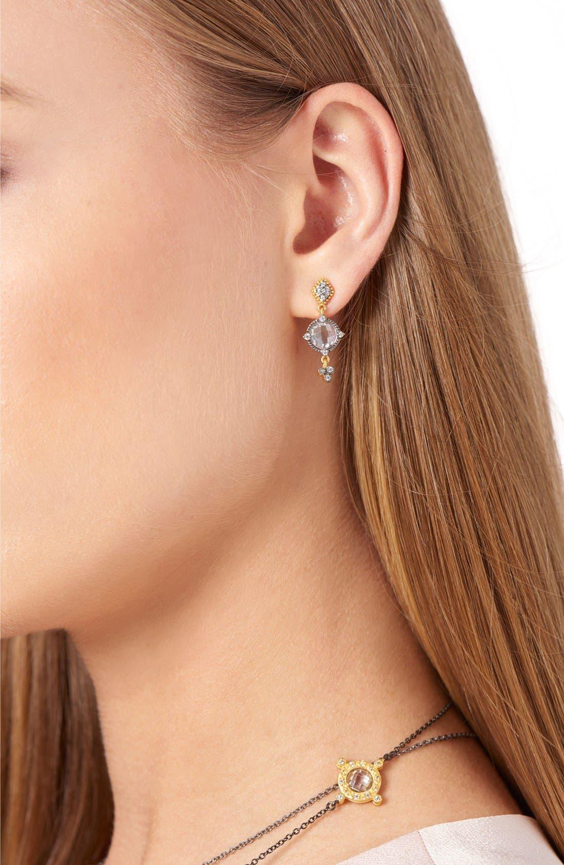 Metropolitan Drop Earrings,                             Alternate thumbnail 2, color,                             Gunmetal/ Clear