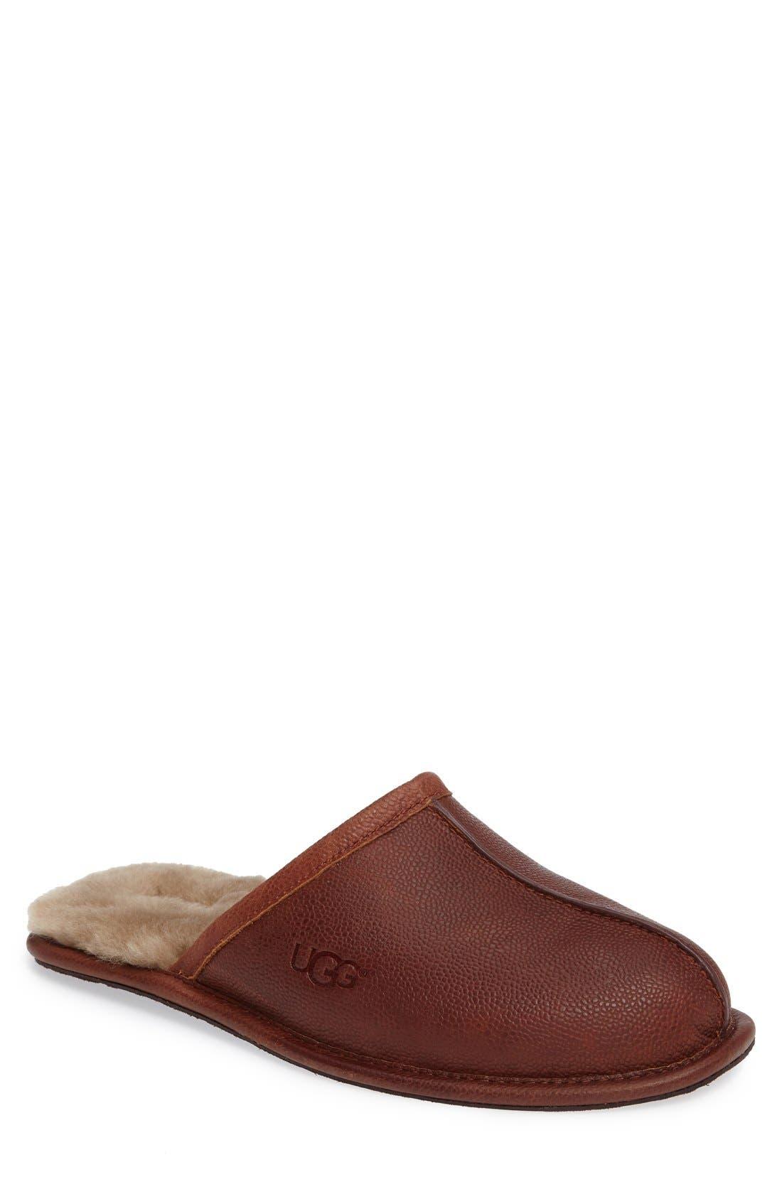 ugg ascot slipper chestnut oiled leather mens