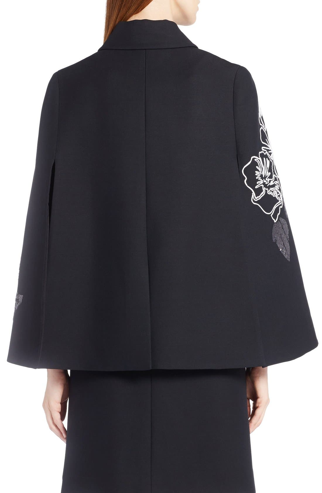 Alternate Image 2  - Fendi Floral Embroidered Wool & Silk Cape