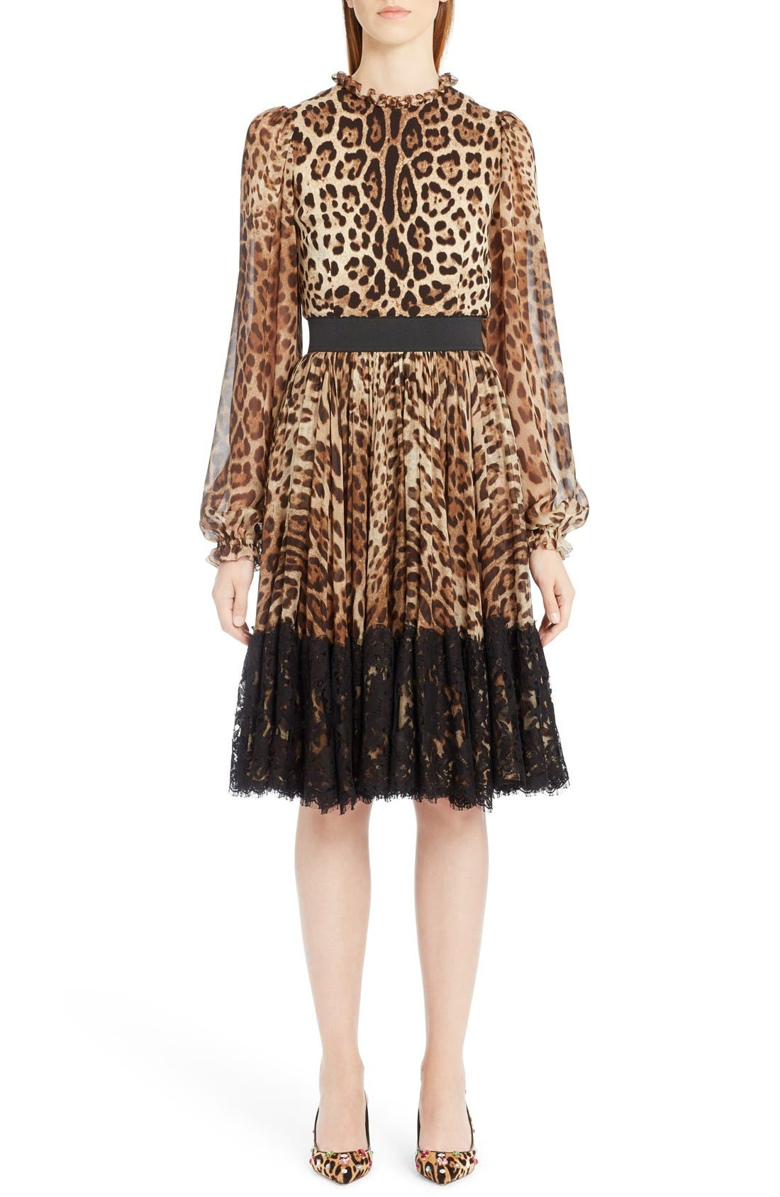 Lace Overlay Leopard Print Chiffon Full Skirt,                             Alternate thumbnail 6, color,                             Leopard