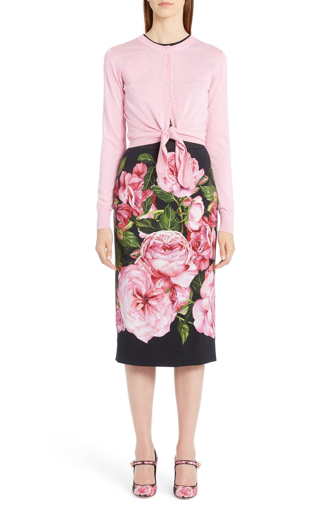 Alternate Image 5  - Dolce&Gabbana Rose Print Cady Pencil Skirt