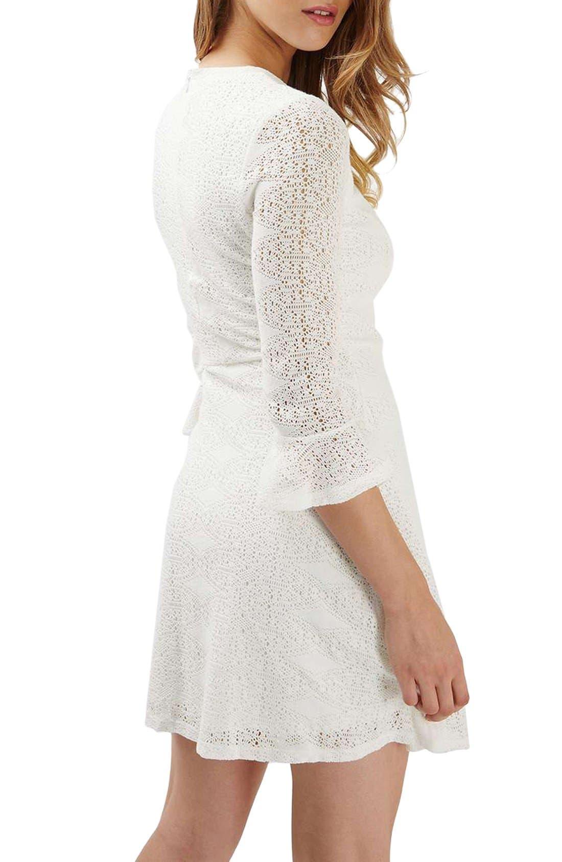 Alternate Image 3  - Topshop Flute Sleeve Crochet Dress
