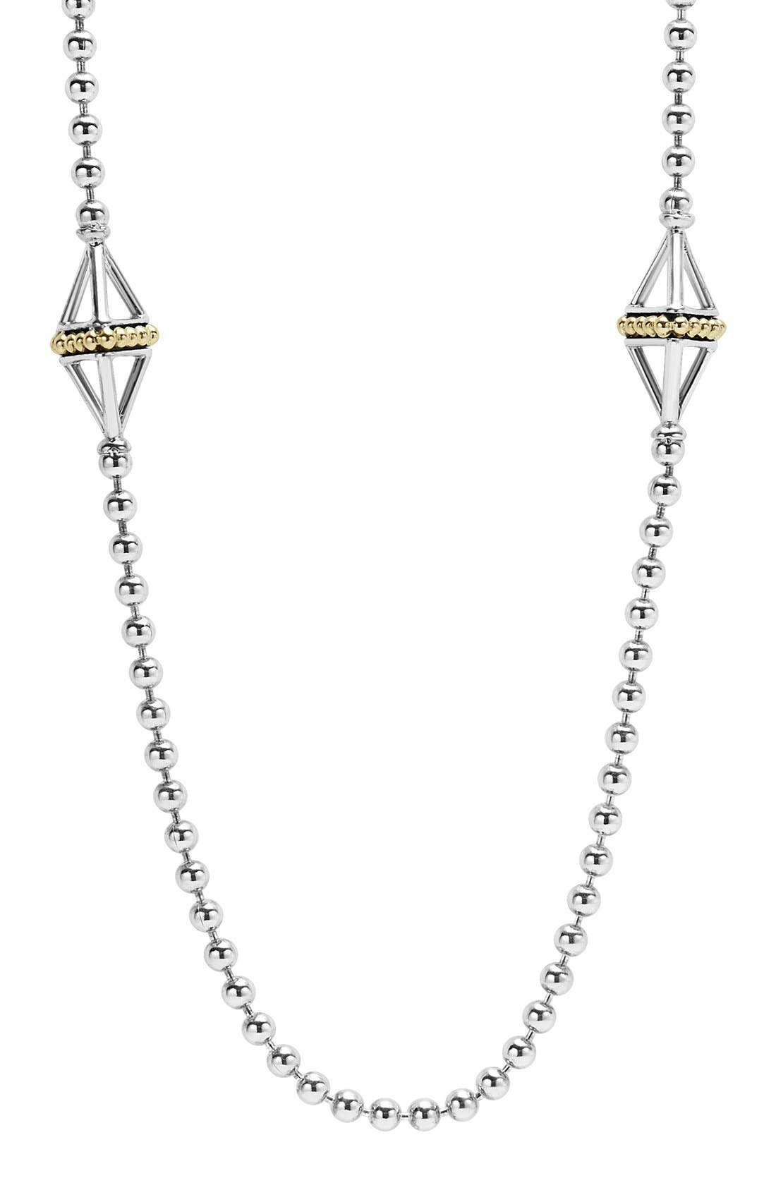 KSL Long Pyramid Station Necklace,                         Main,                         color, Silver/ Gold