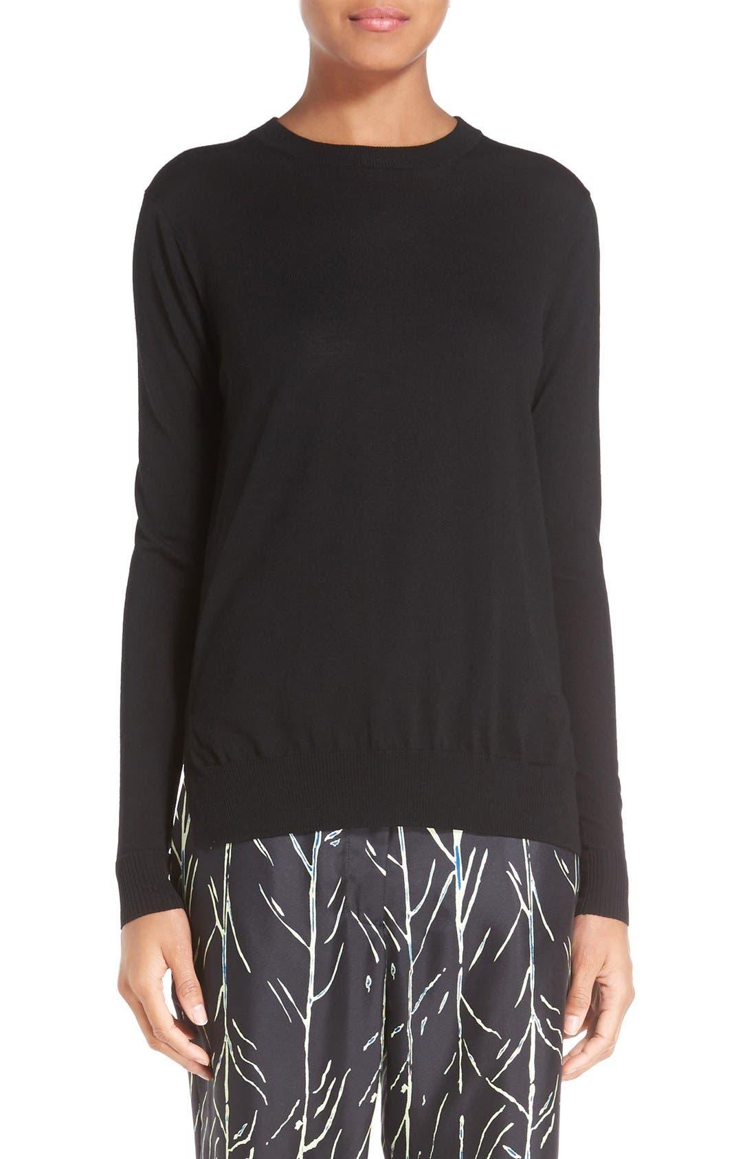 Superfine Merino Wool Sweater,                             Main thumbnail 1, color,                             Black