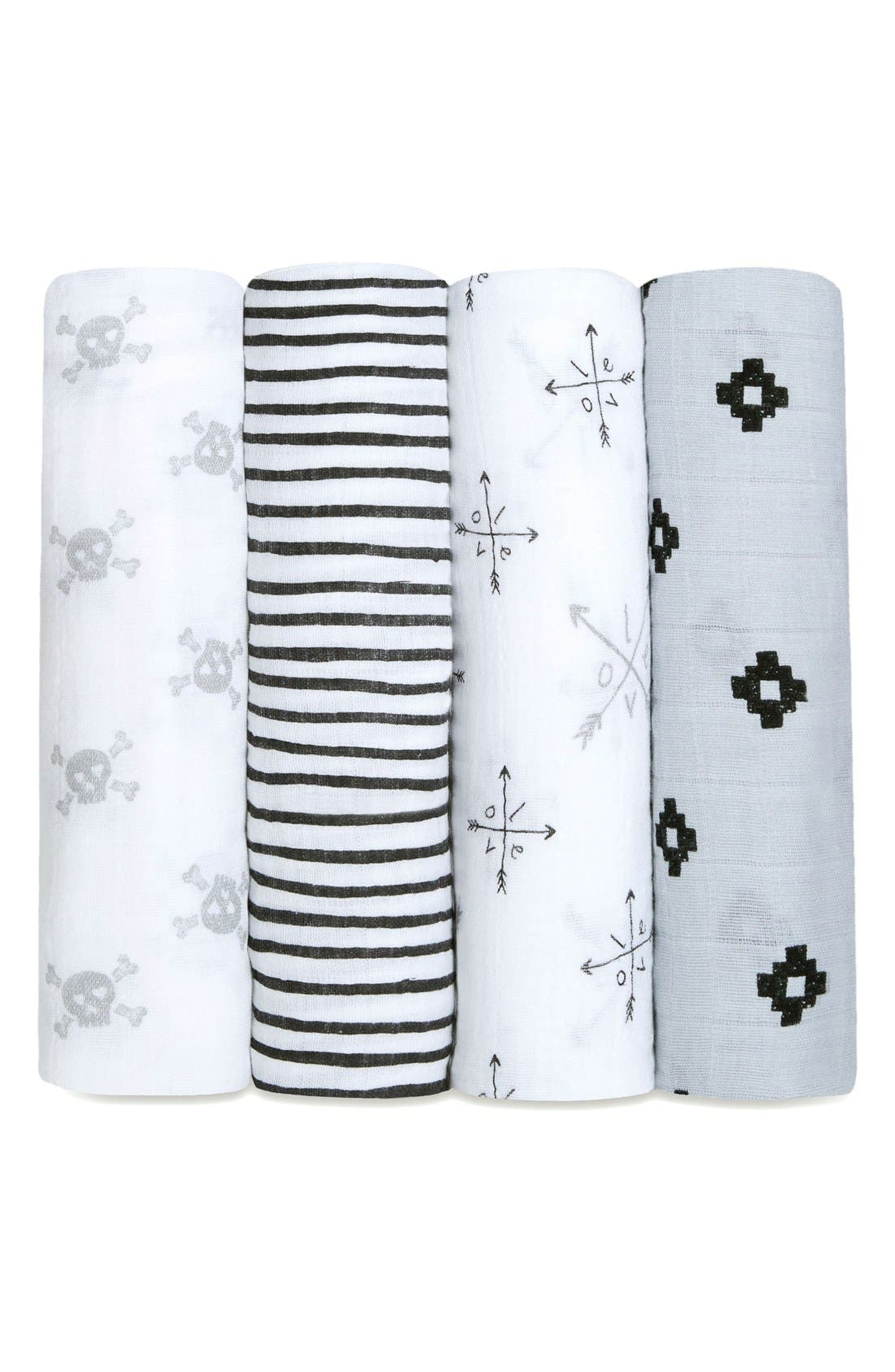 4-Pack Classic Swaddling Cloths,                         Main,                         color, Lovestruck