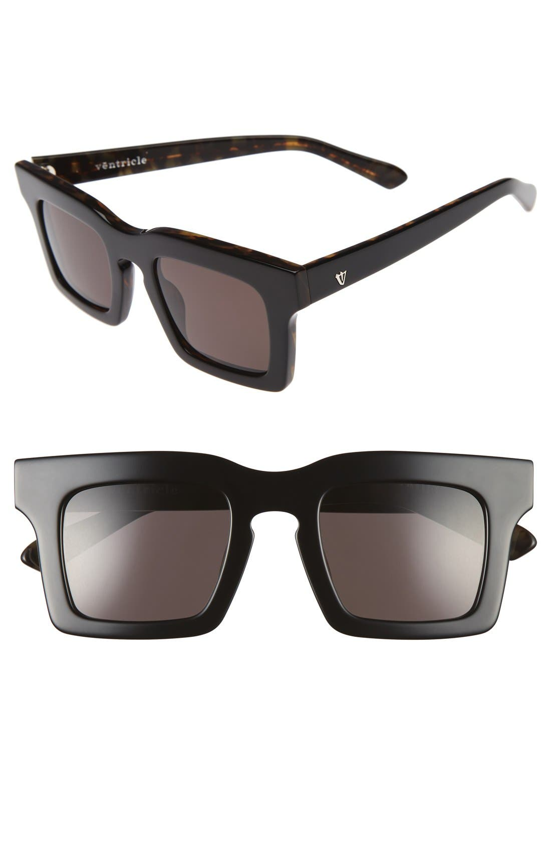 Ventricle 50mm Sunglasses,                         Main,                         color, Gloss Black/ Tortoise