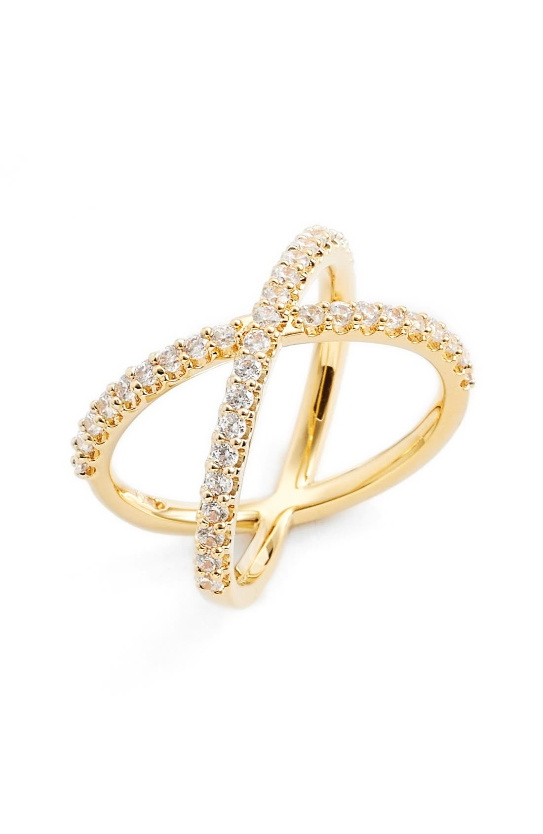 Crossover Cubic Zirconia Ring,                         Main,                         color, Gold